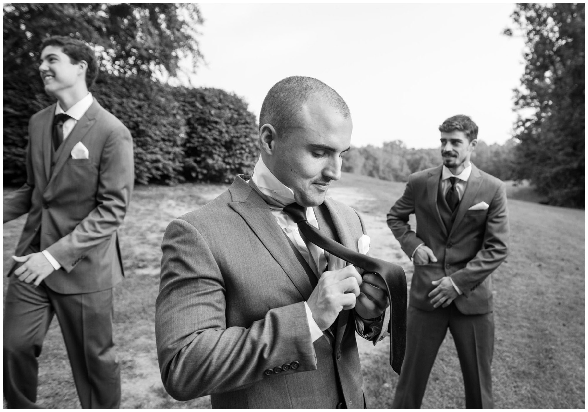 groomsmen getting ready before wedding