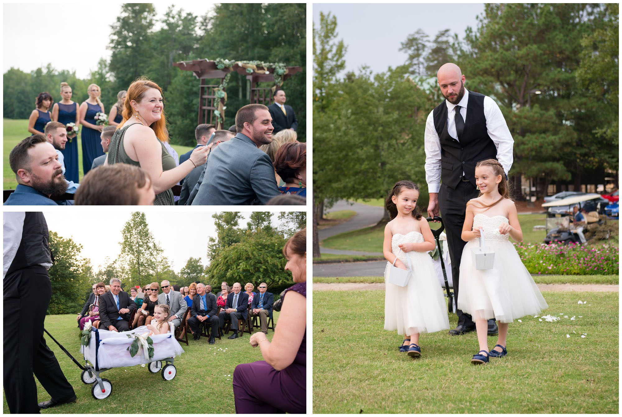 flower girls entering wedding ceremony in wagon