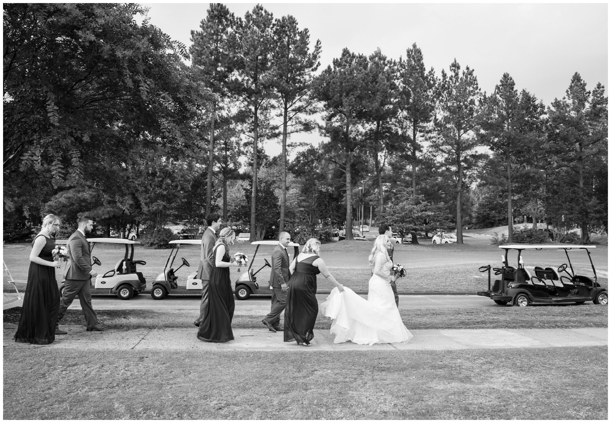 bridal party exiting wedding ceremony