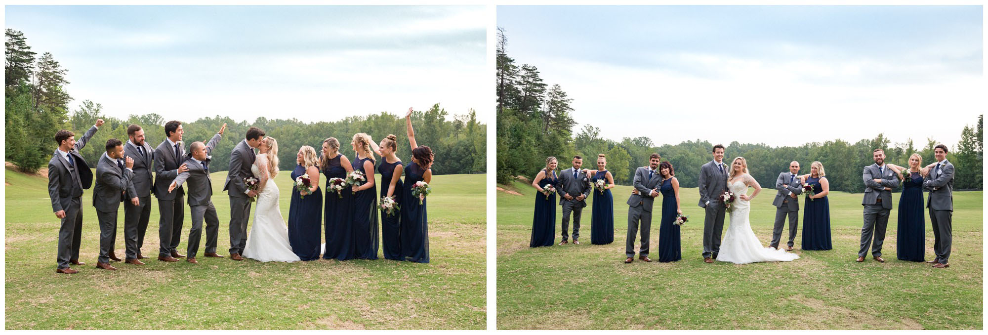 bridal party at golf course wedding