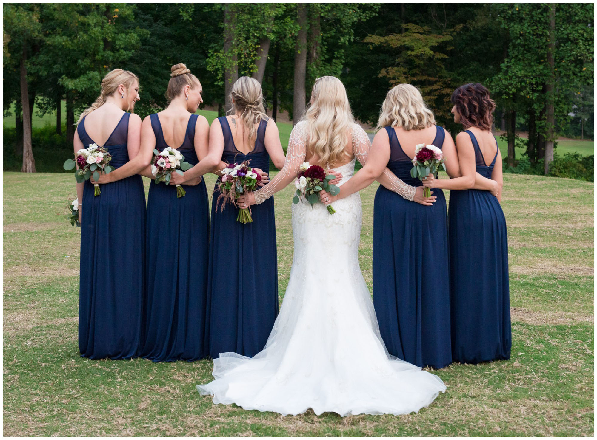 bridesmaids flowers at golf course wedding