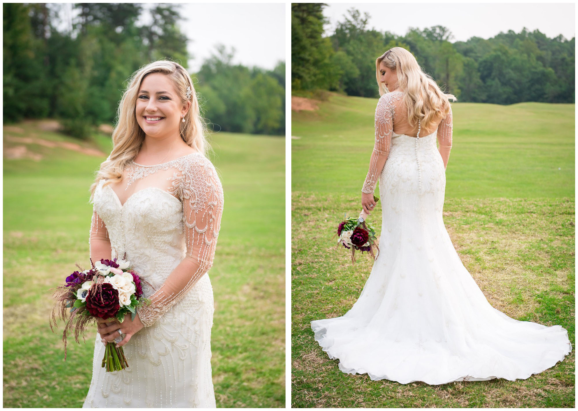 portraits of bride wearing beaded dress with sheer sleeves