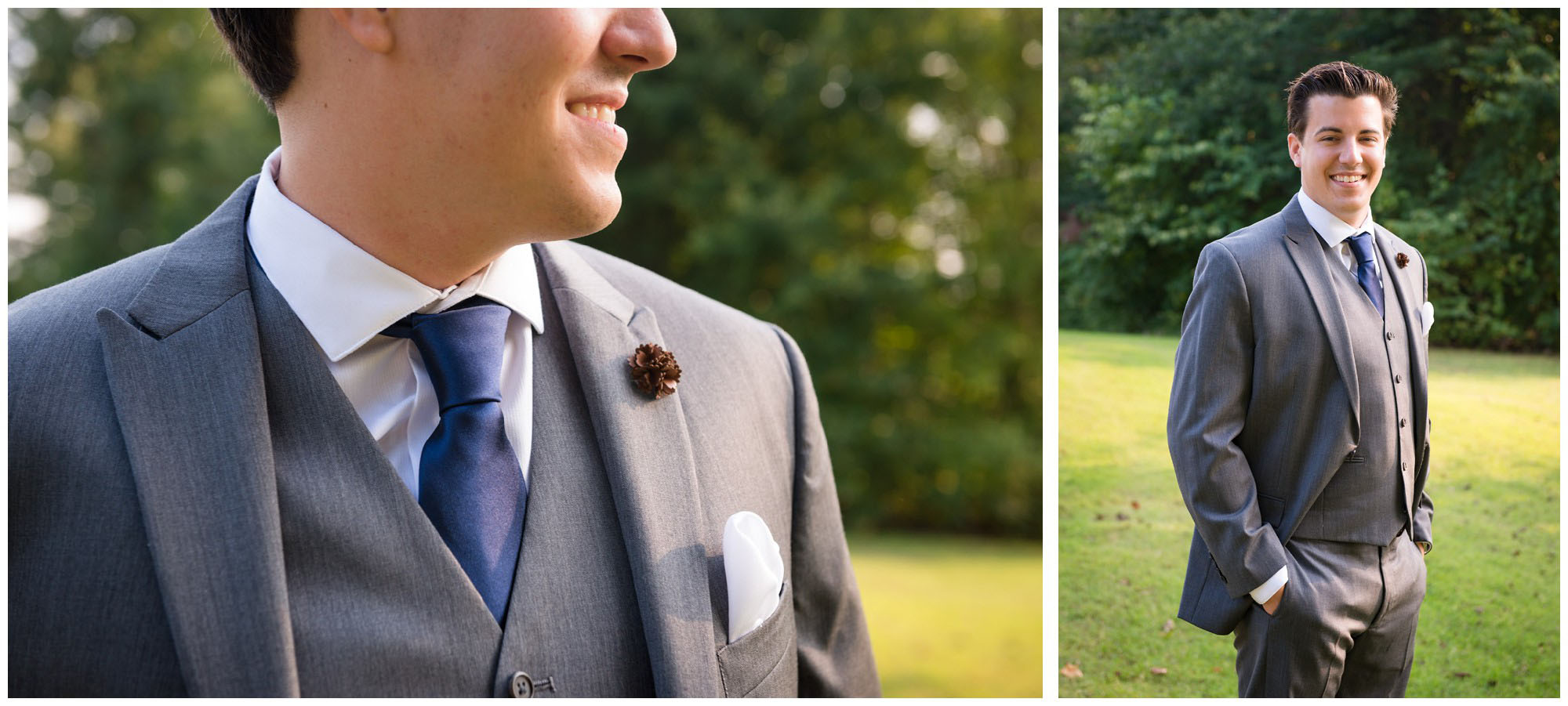 portraits of groom in grey suit on wedding day