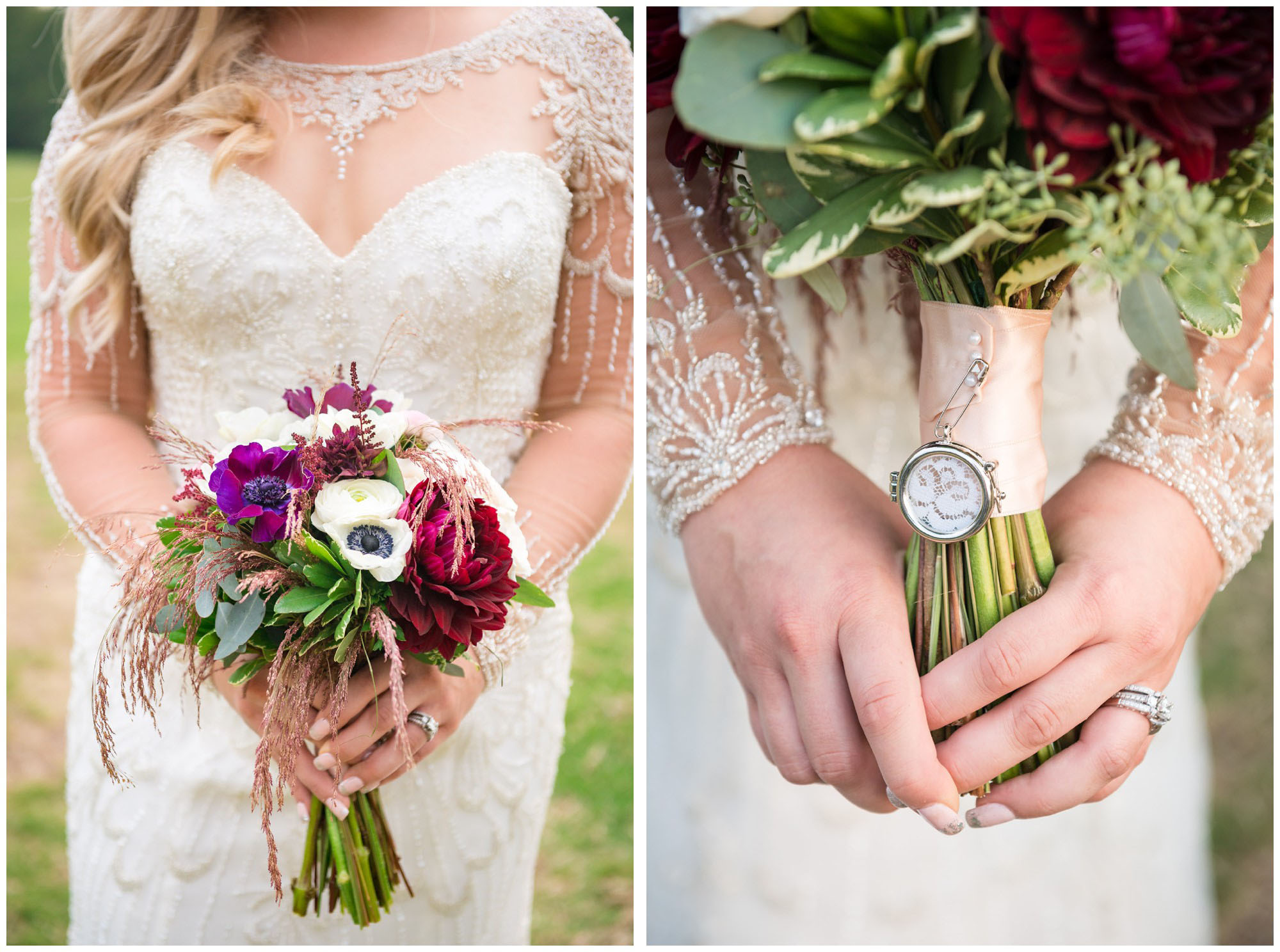 bride's bouquet with locket of mom's wedding dress lace