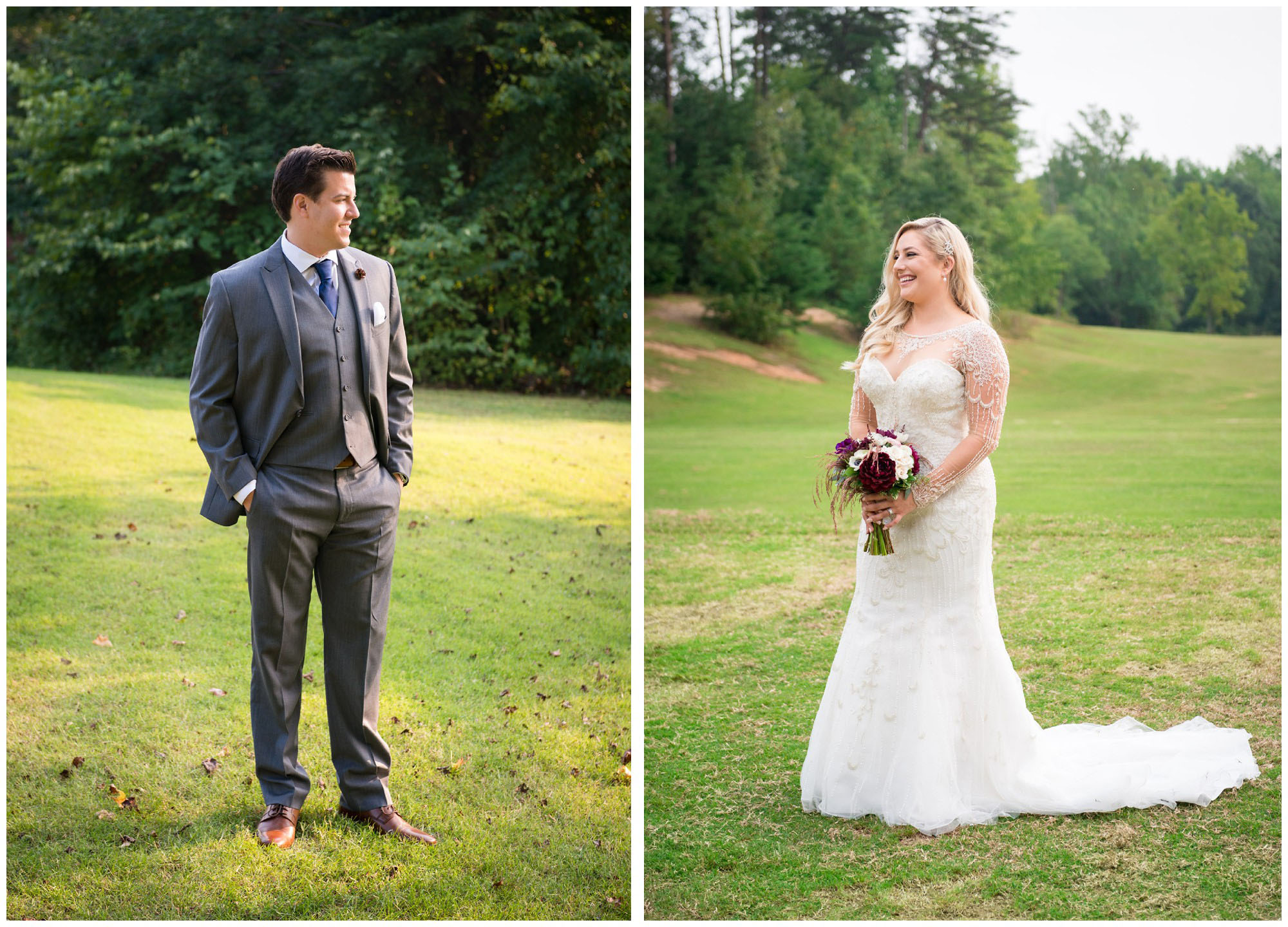 bride and groom portraits on wedding day