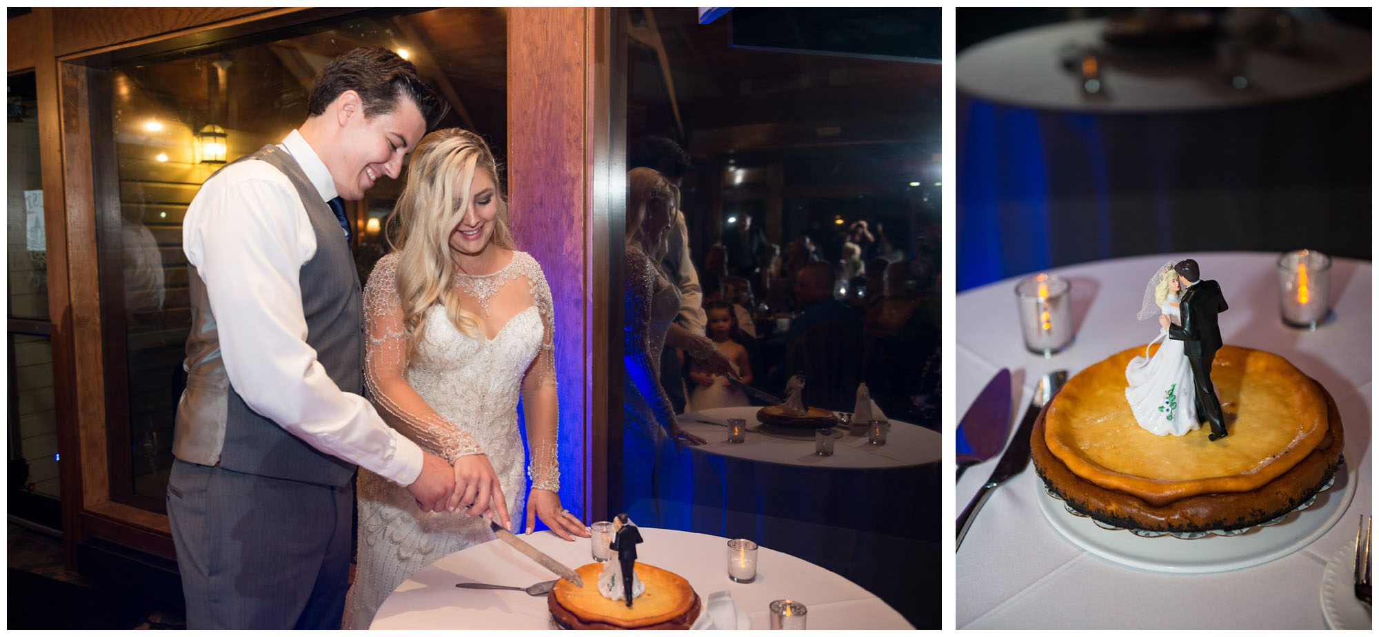 bride and groom cutting cheesecake wedding cake
