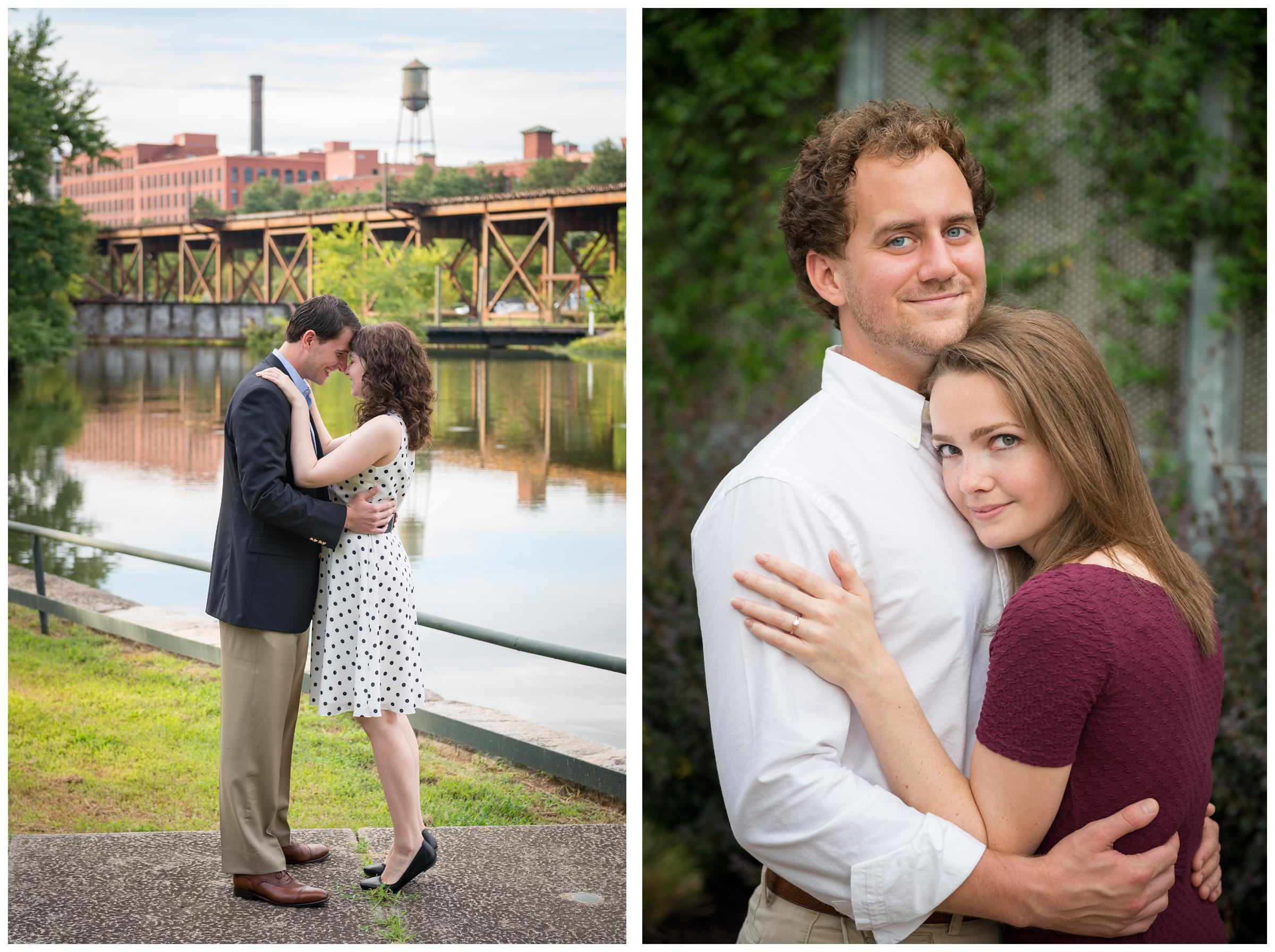 engaged couple by river in Richmond Virginia