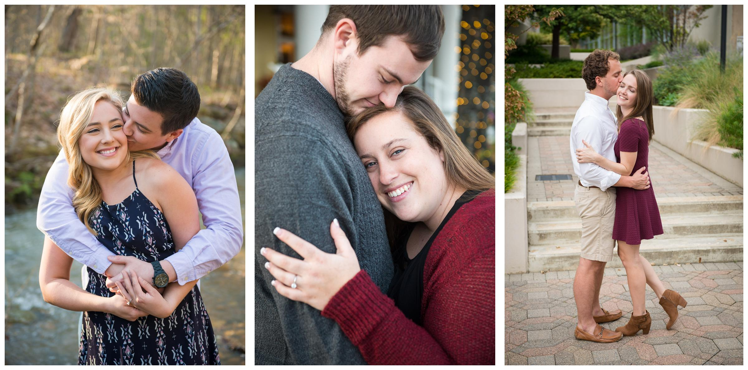 engaged couples embracing