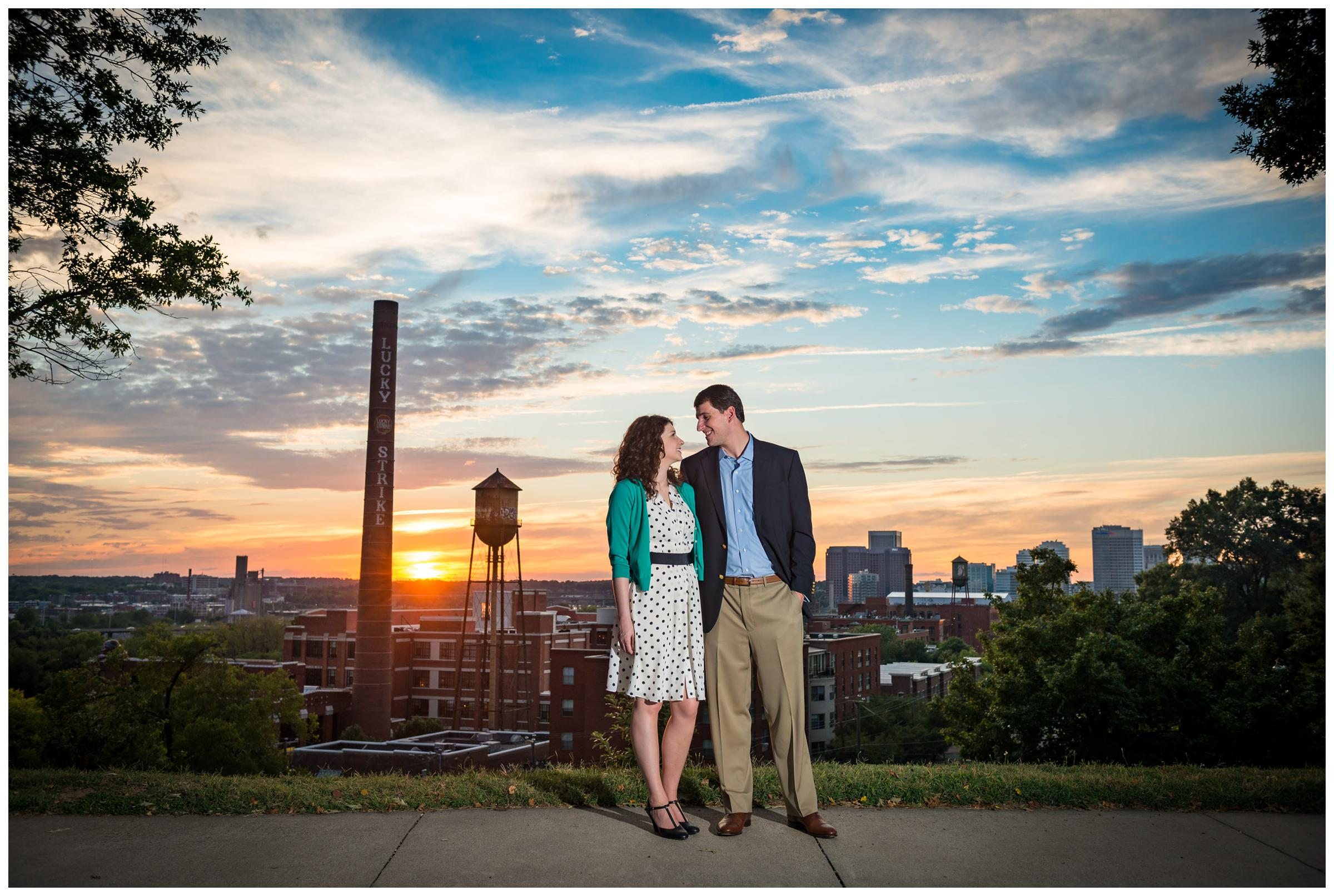Richmond engagement photos at sunset on Libby Hill