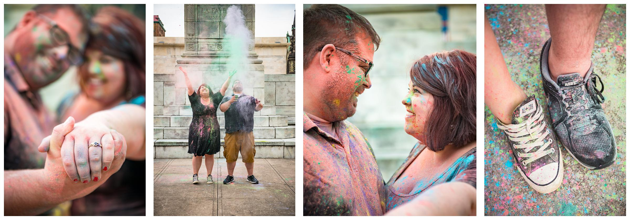 engaged couple playing with colored powder paint