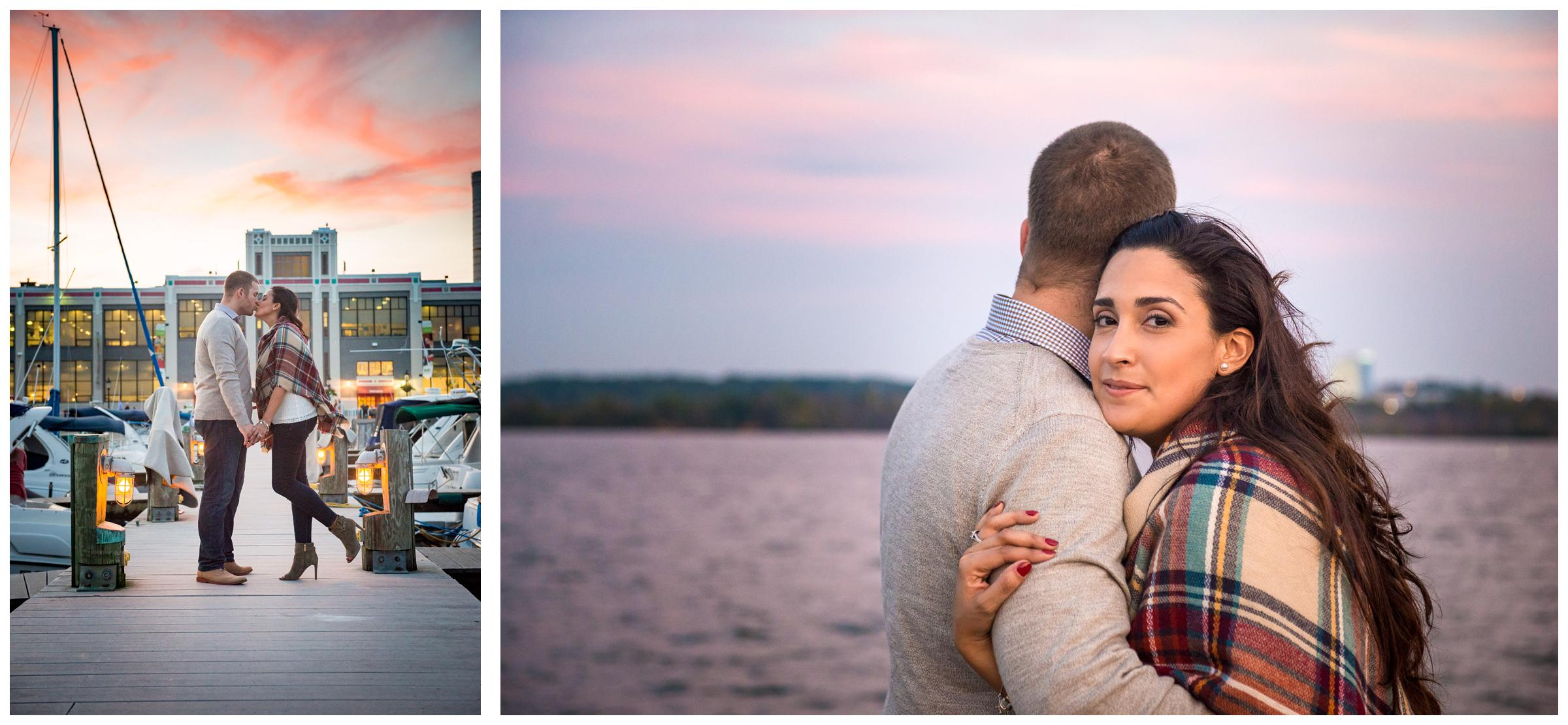engaged couple at Alexandria Virginia waterfront at sunset