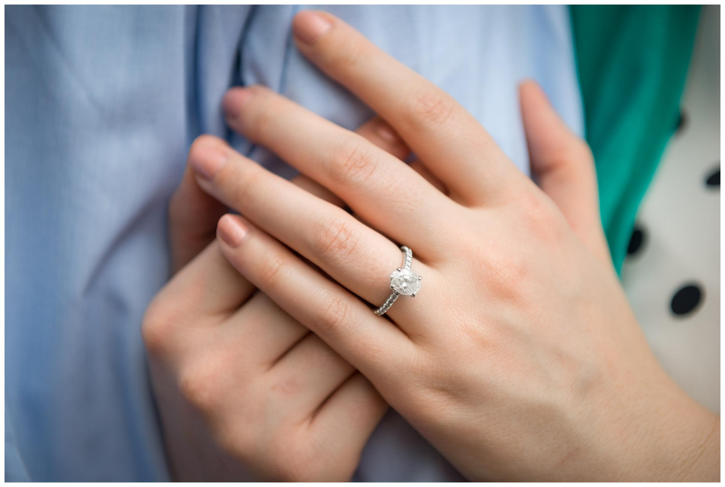 closeup of engagement ring on finger