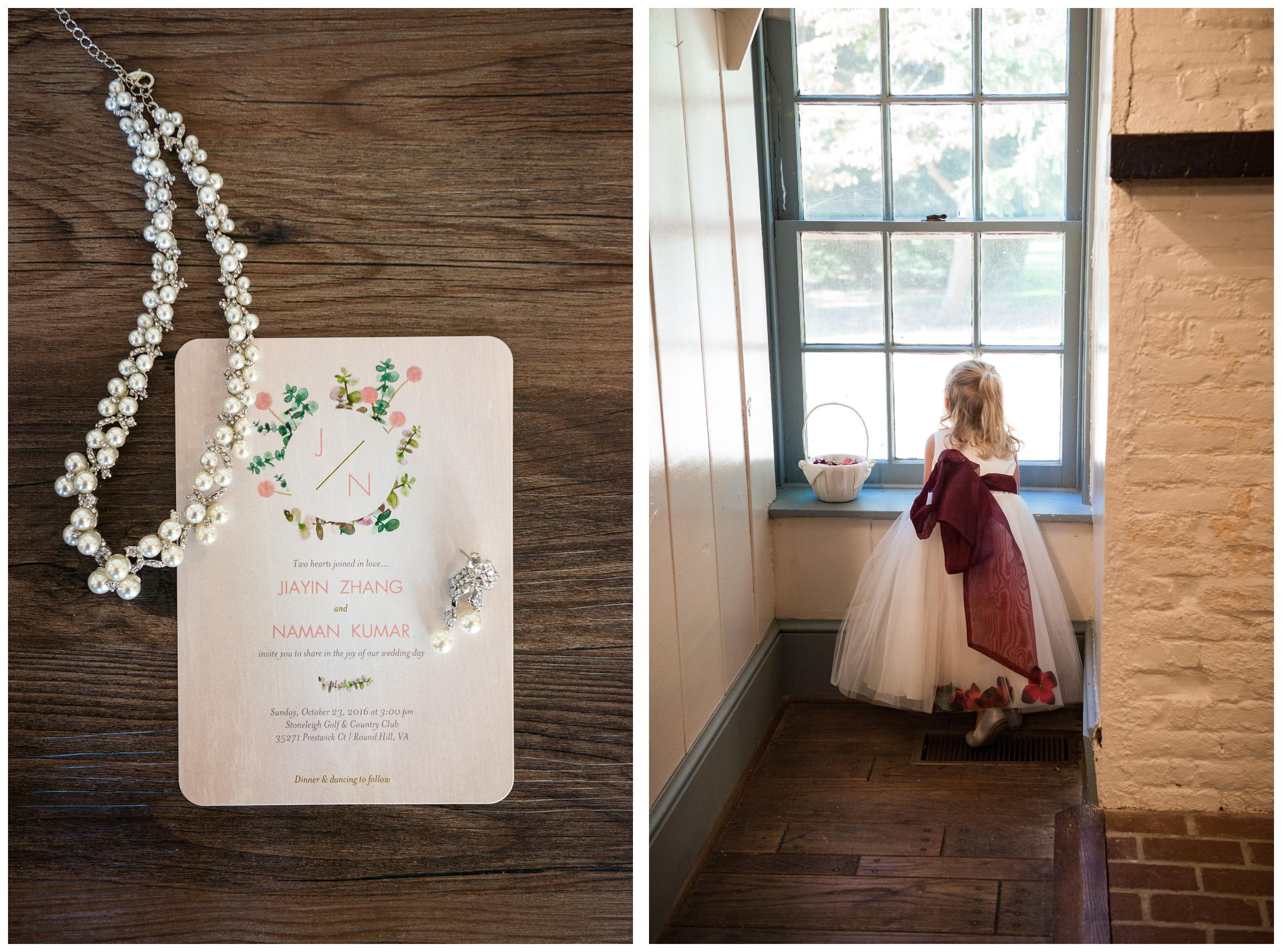 wedding jewelry and invitation, and flower girl