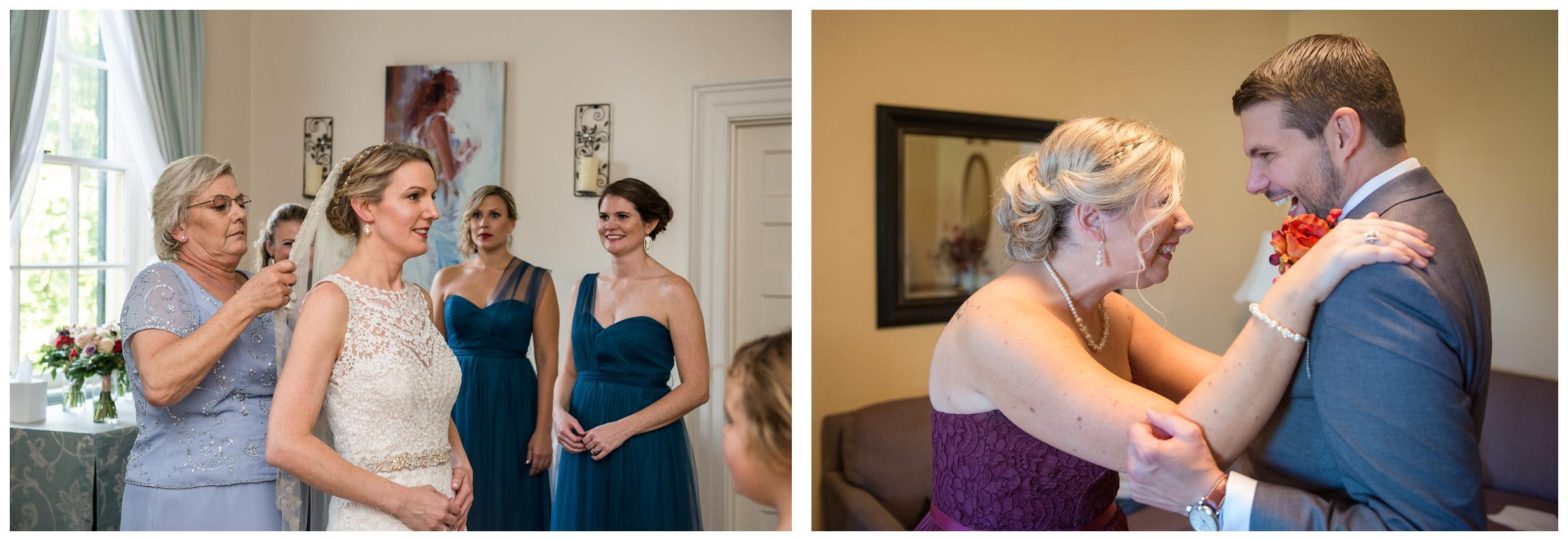 bridal party getting ready before wedding ceremony