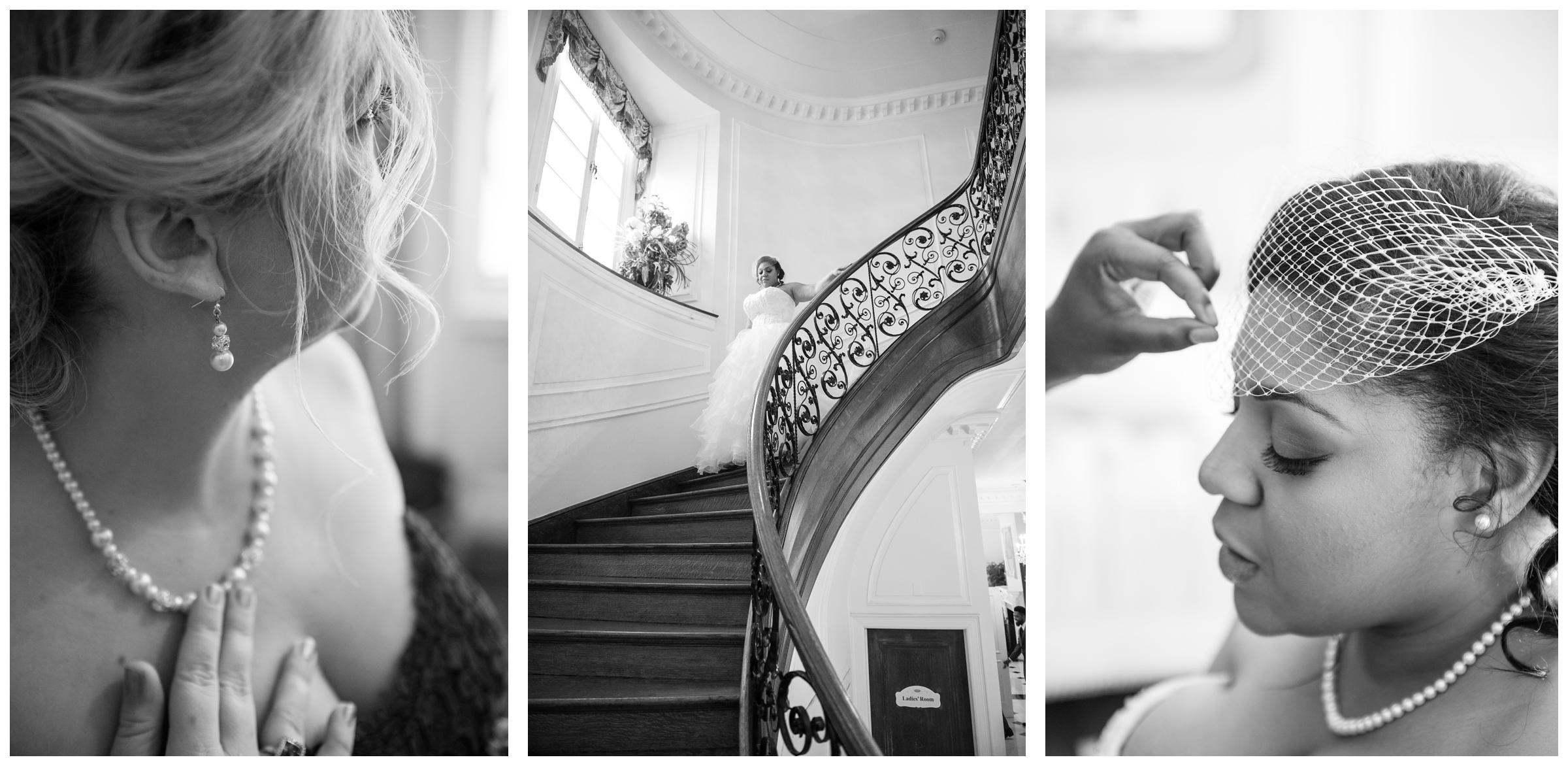 bride getting dressed and walking down staircase