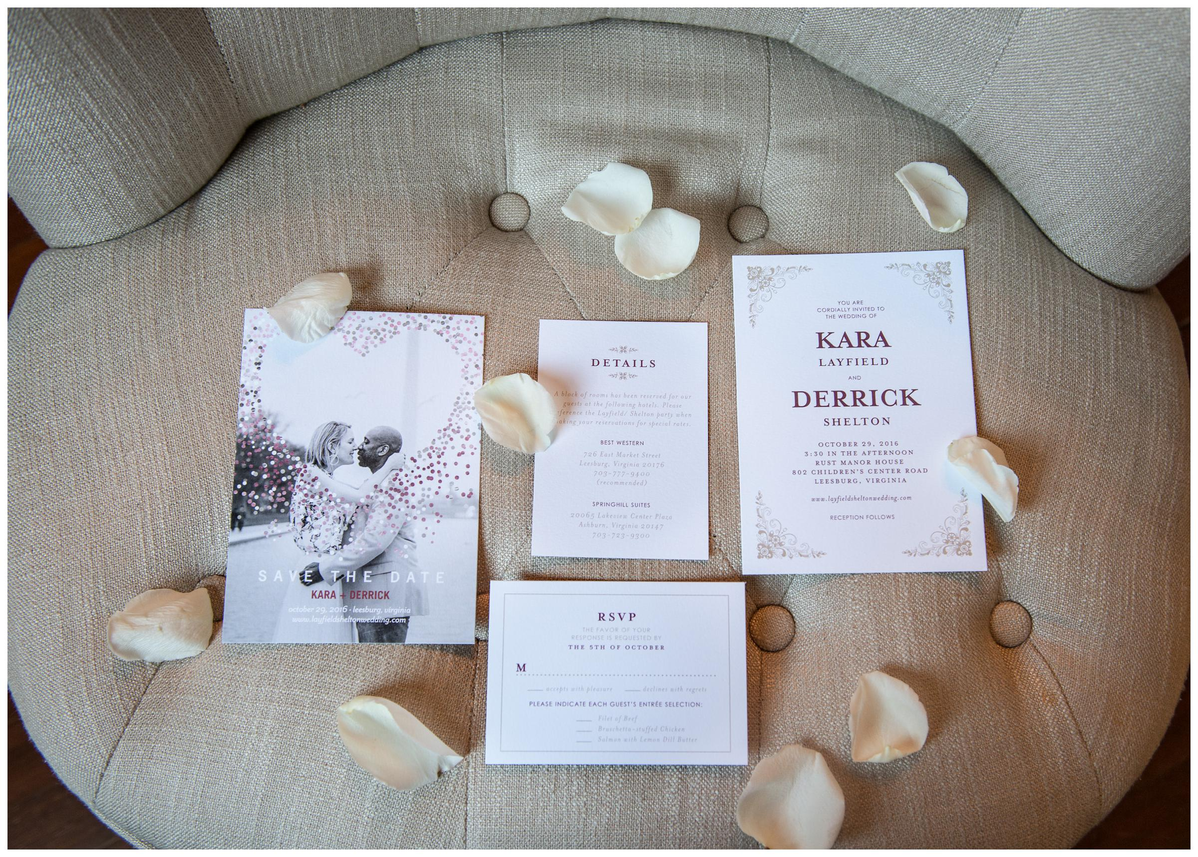 wedding invitations with flower petals