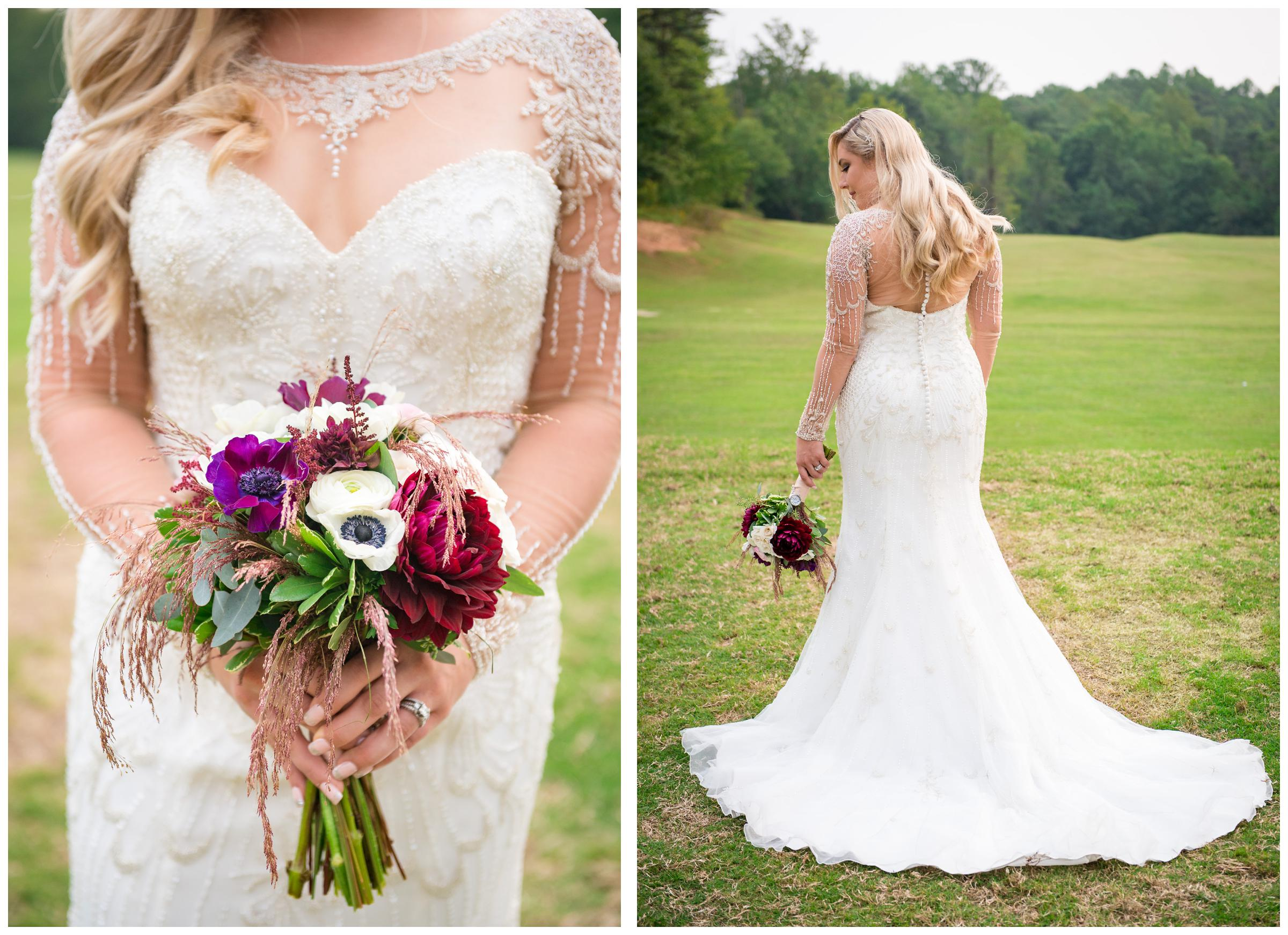 beaded wedding gown with sheer sleeves and bouquet
