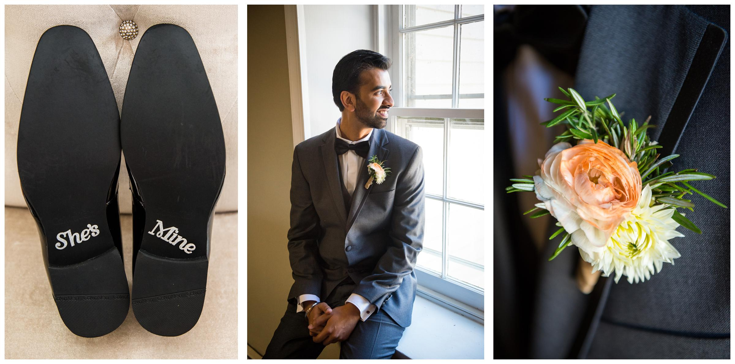 groom waiting for wedding ceremony with shoes and boutonniere