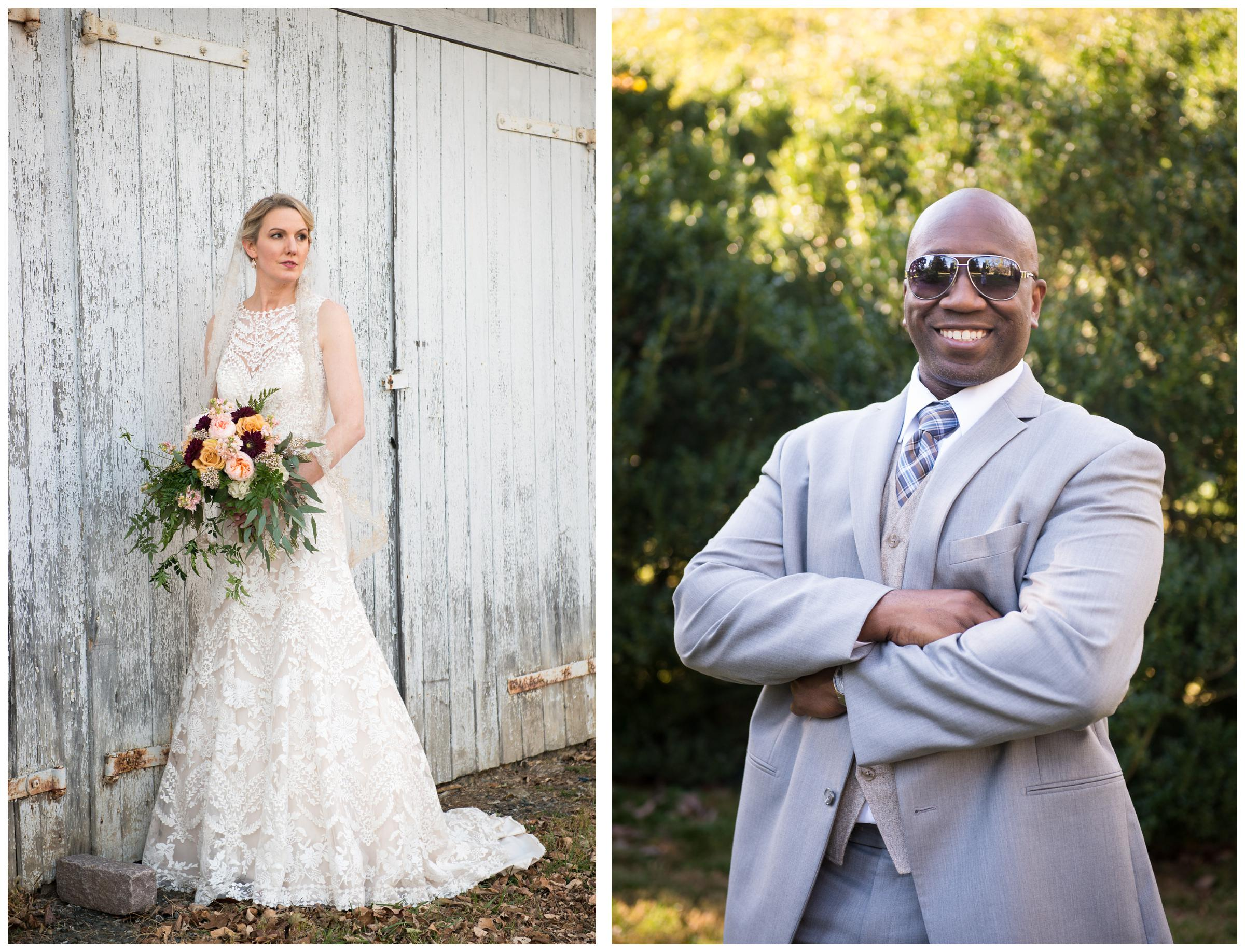bride in lace gown and groom in grey suit wearing sunglasses
