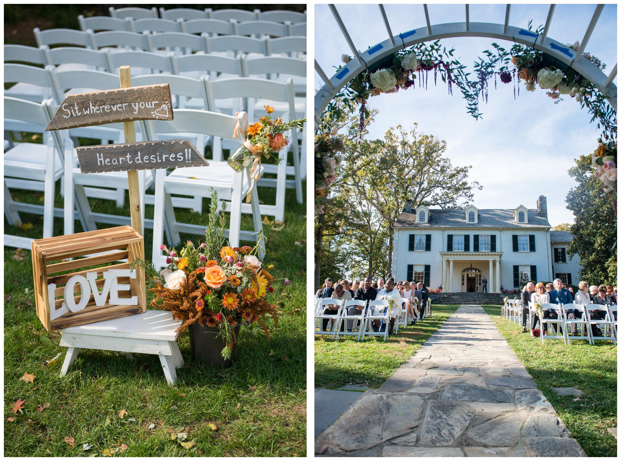 wedding ceremony setups at Stoneleigh Golf and Country Club and Rust Manor in Leesburg, Virginia