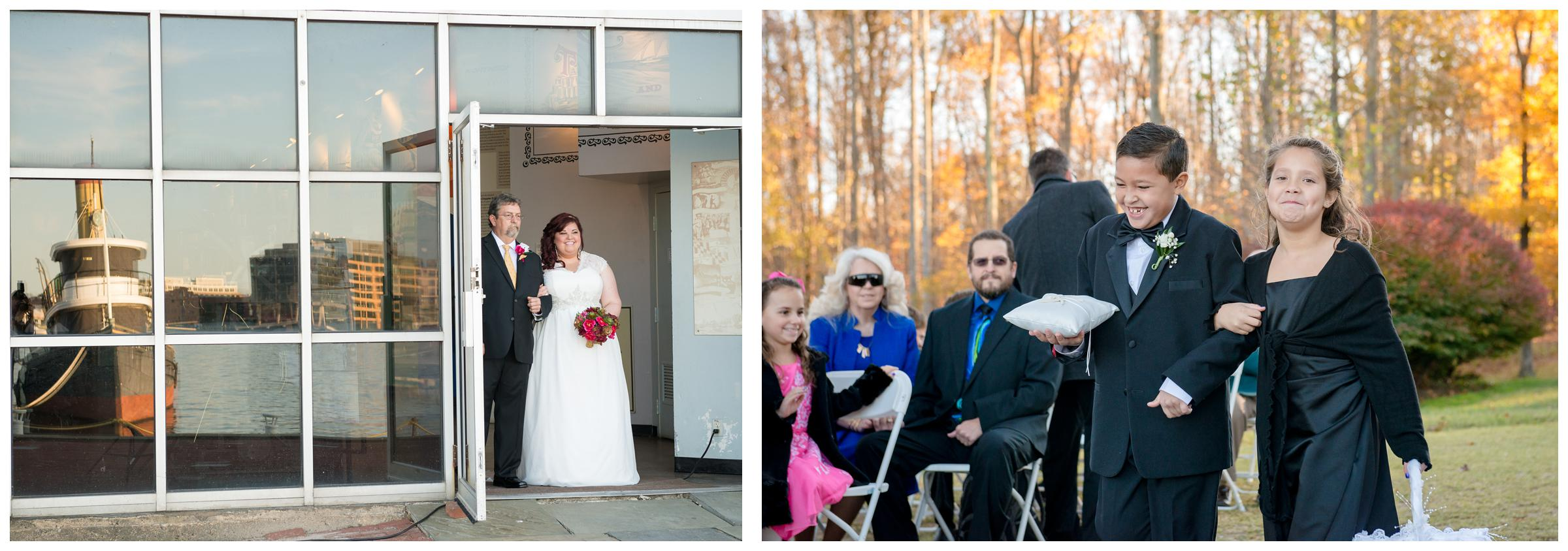 bride and dad, flower girl and ring bearing entering wedding ceremony