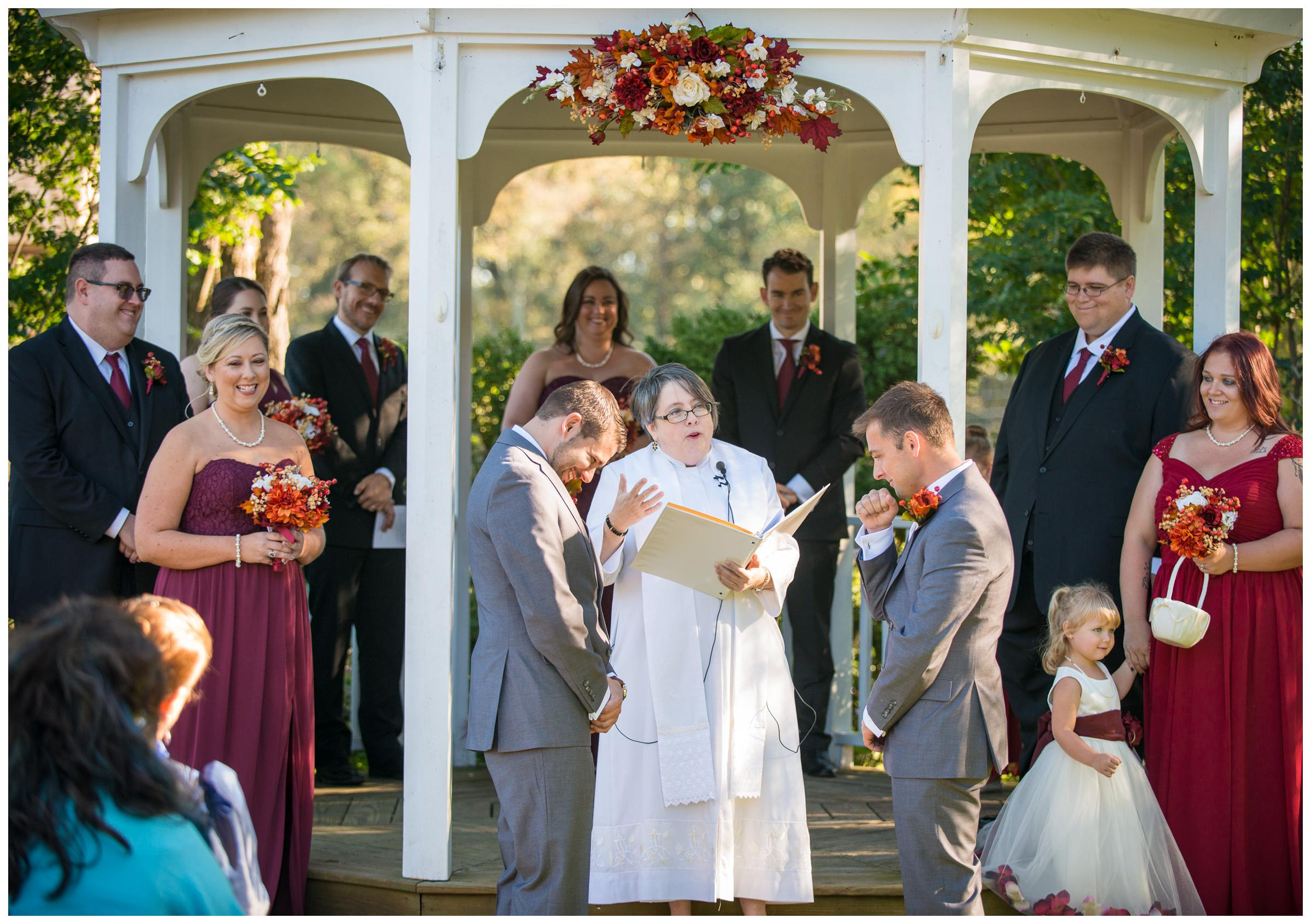 same-sex wedding ceremony at Woodlawn Manor in Maryland