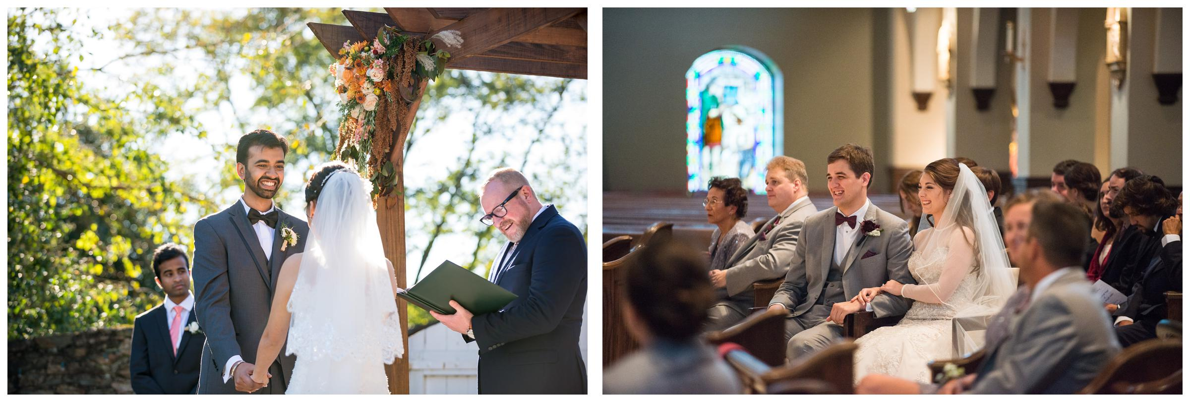 laughter during outdoor and church wedding ceremonies
