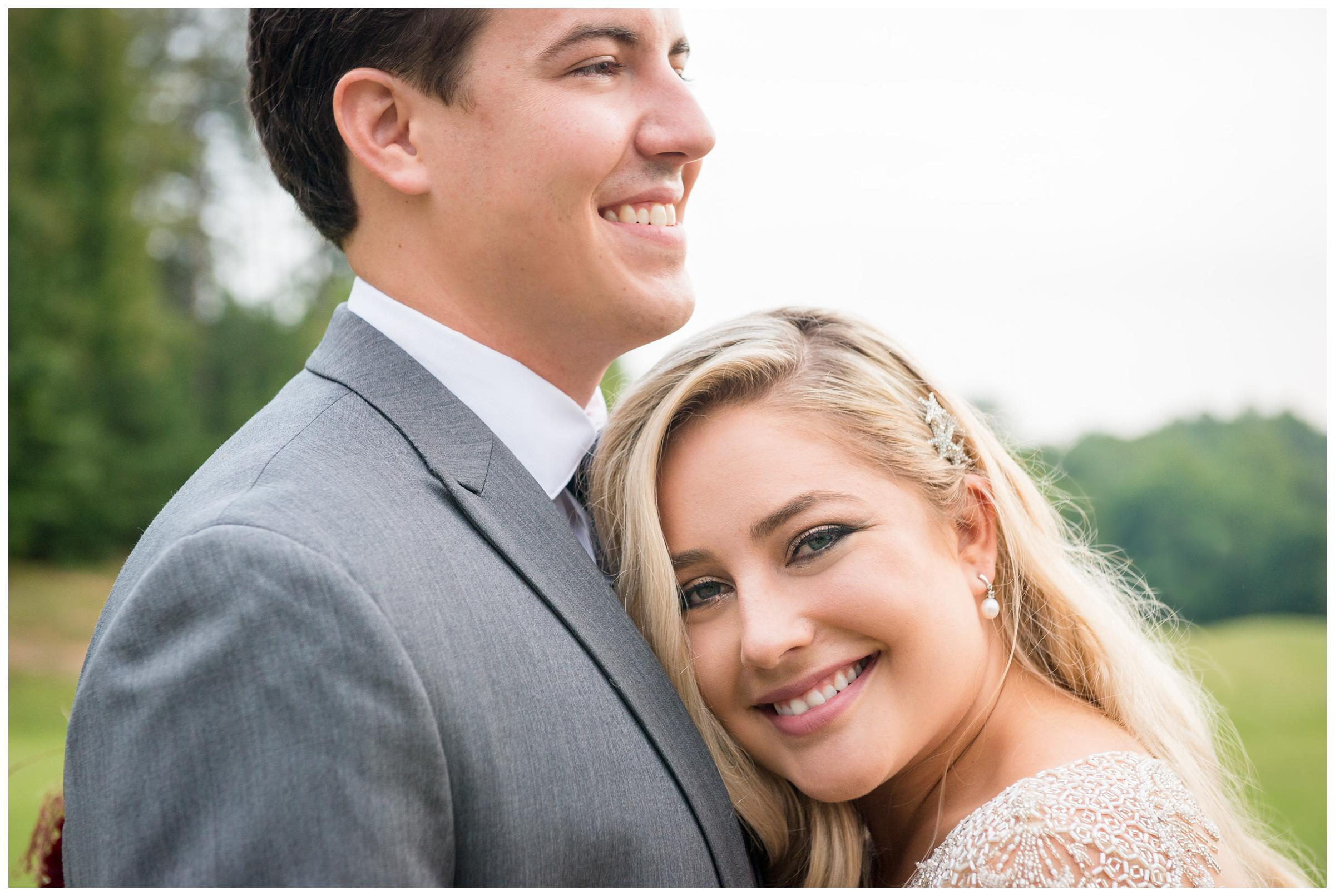 closeup of bride and groom on wedding day