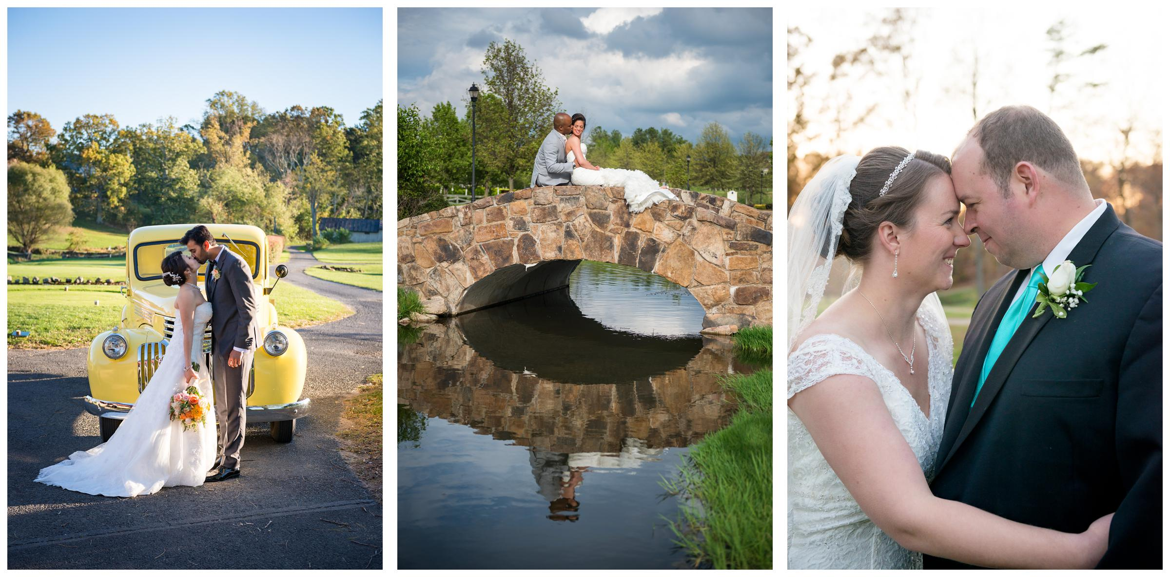 bride and groom portraits with old yellow truck and stone bridge