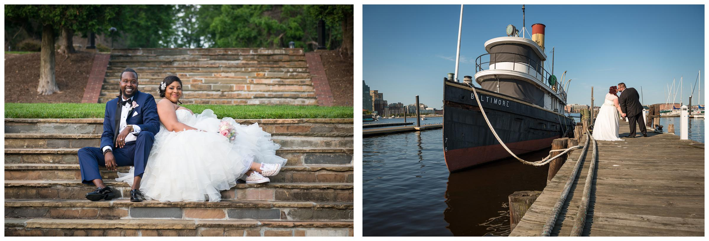 bride and groom portraits at Oxon Hill Manor steps and Baltimore Harbor in Maryland