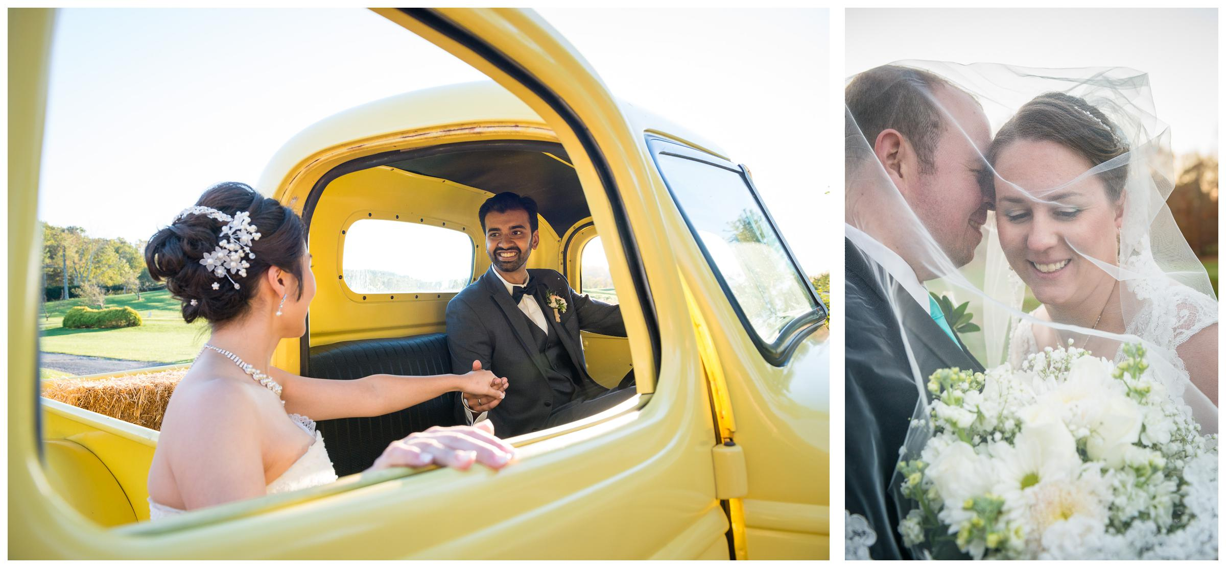 bride and groom with vintage yellow truck and under veil
