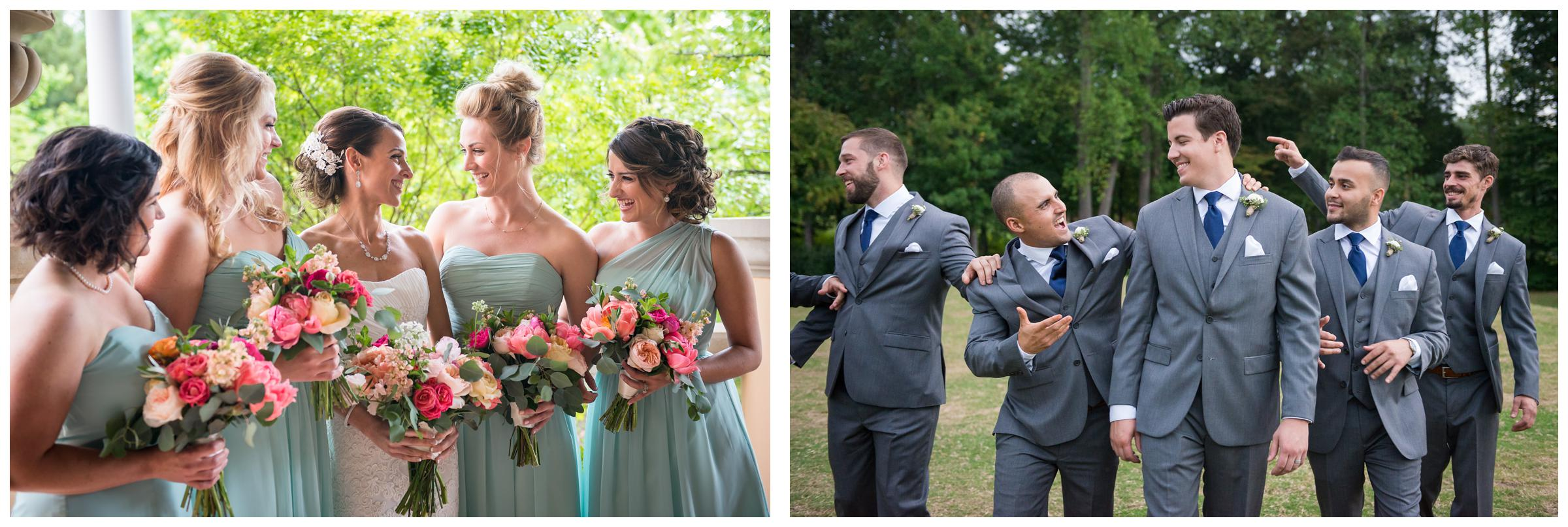 bridesmaids and groomsmen laughing