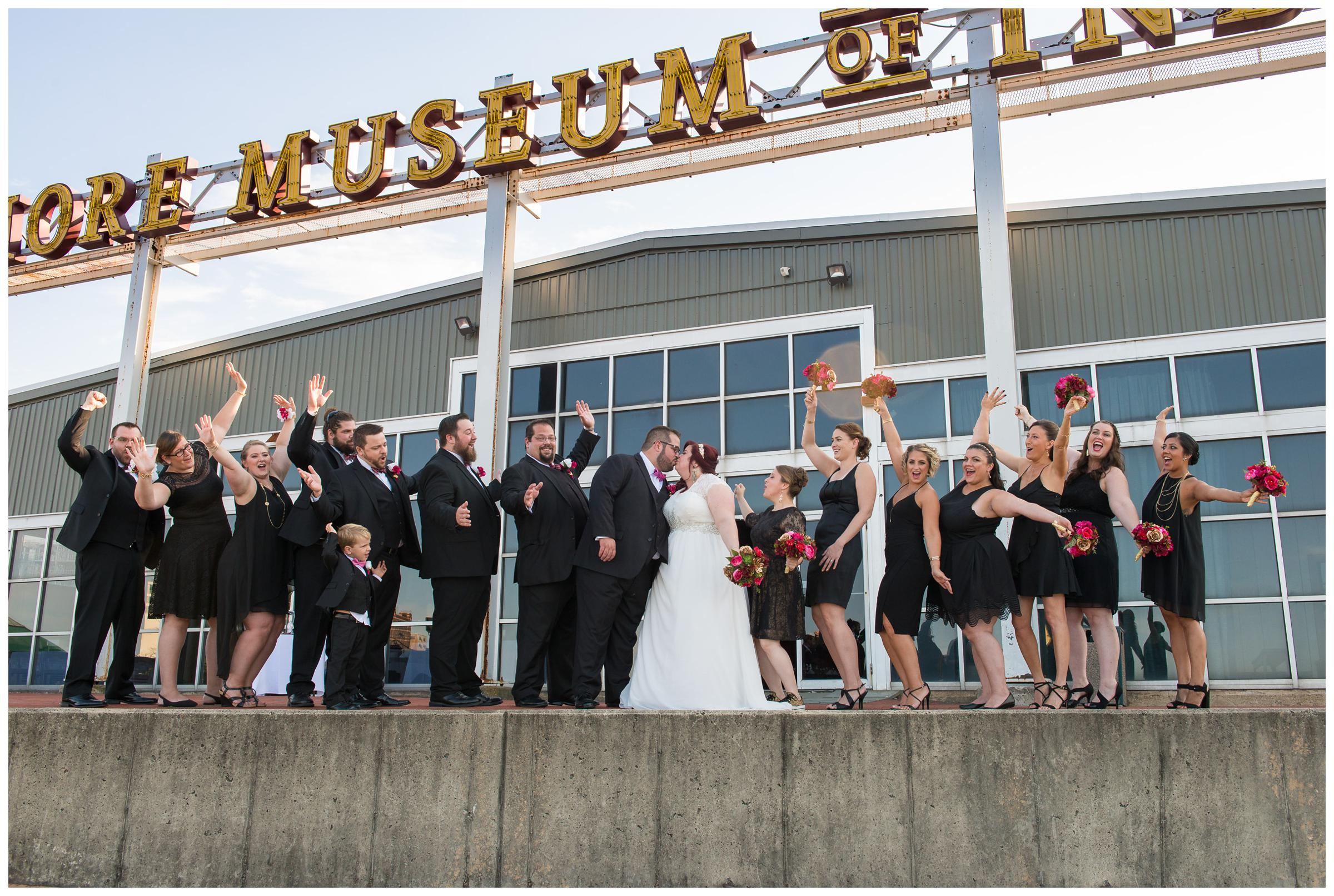 bridal party in front of Baltimore Museum of Industry
