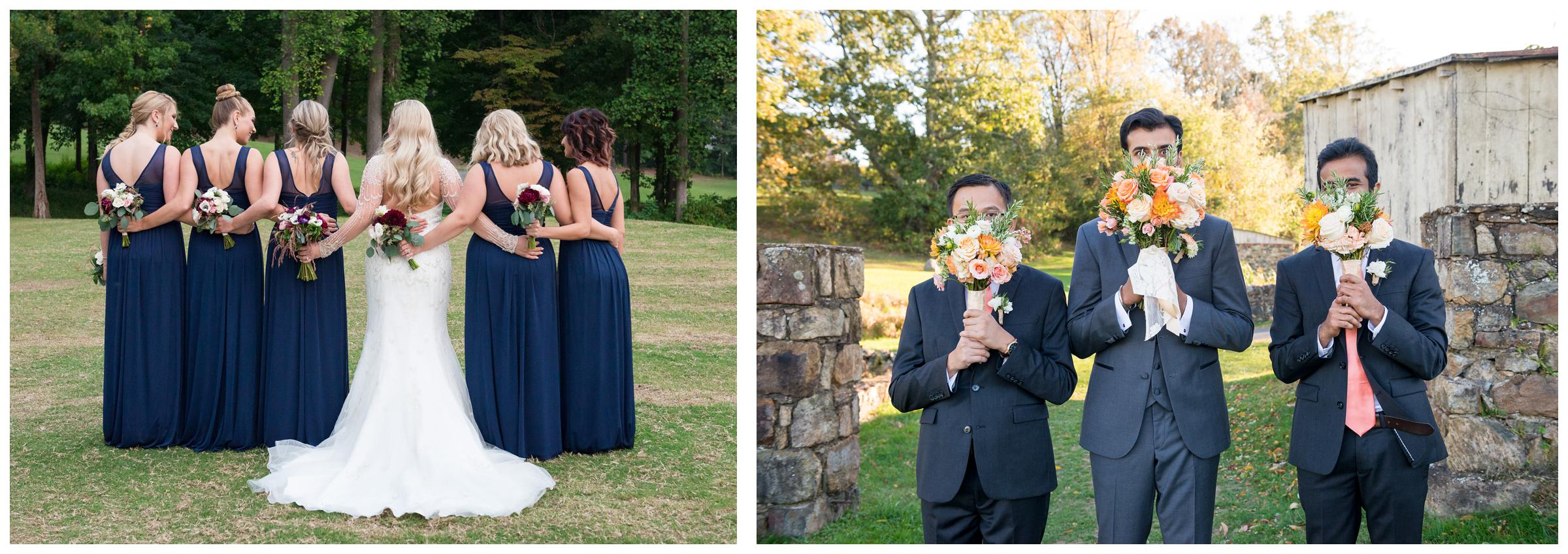 bridesmaids backs with flowers, groomsmen holding bouquets