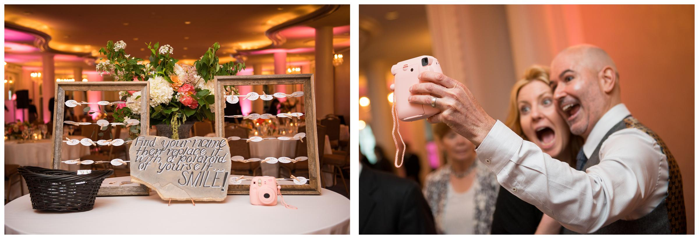 guests take polaroids during wedding reception