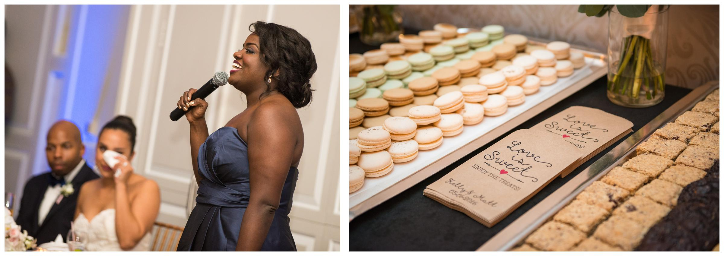 bridesmaid makes emotional toast and detail of macaroons at wedding reception
