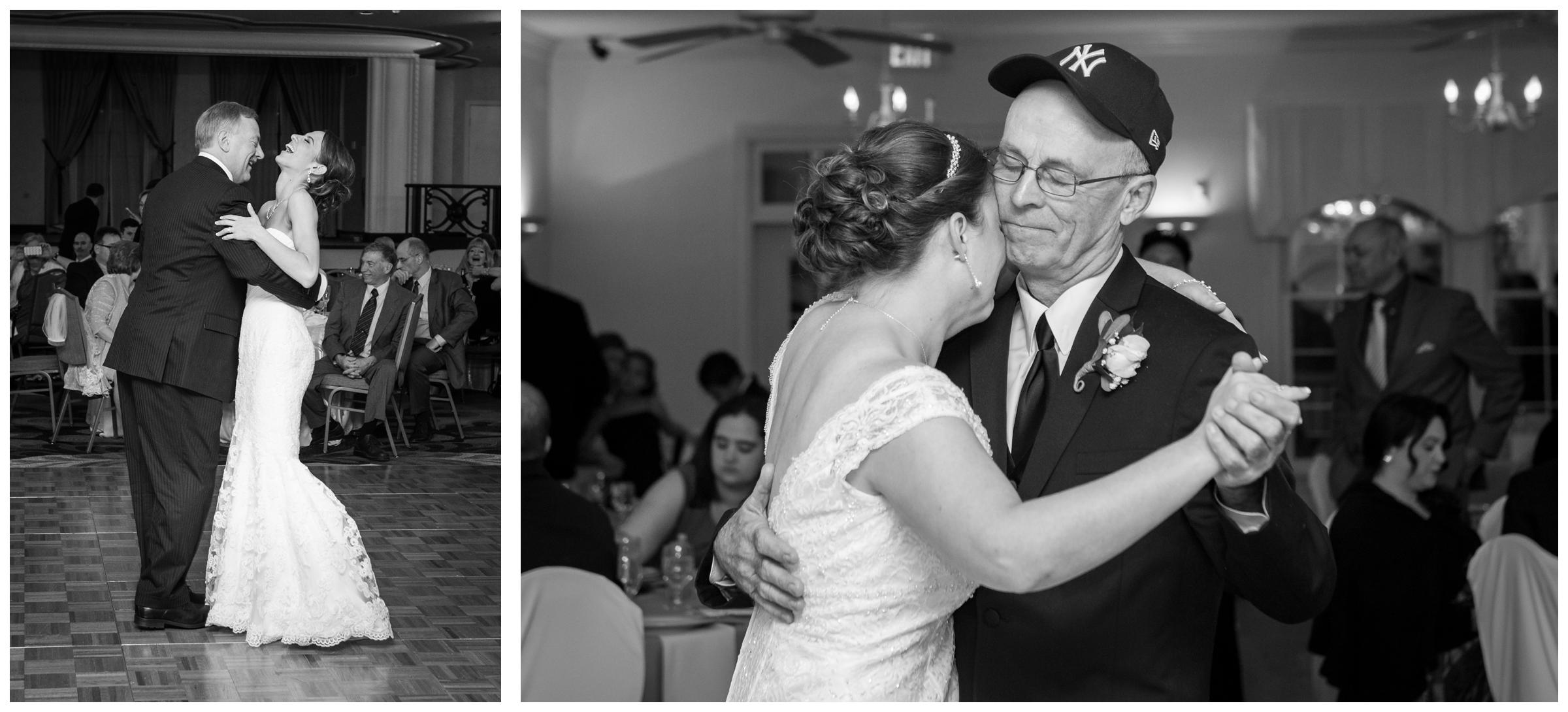 laughter and crying during father daughter dance at wedding reception