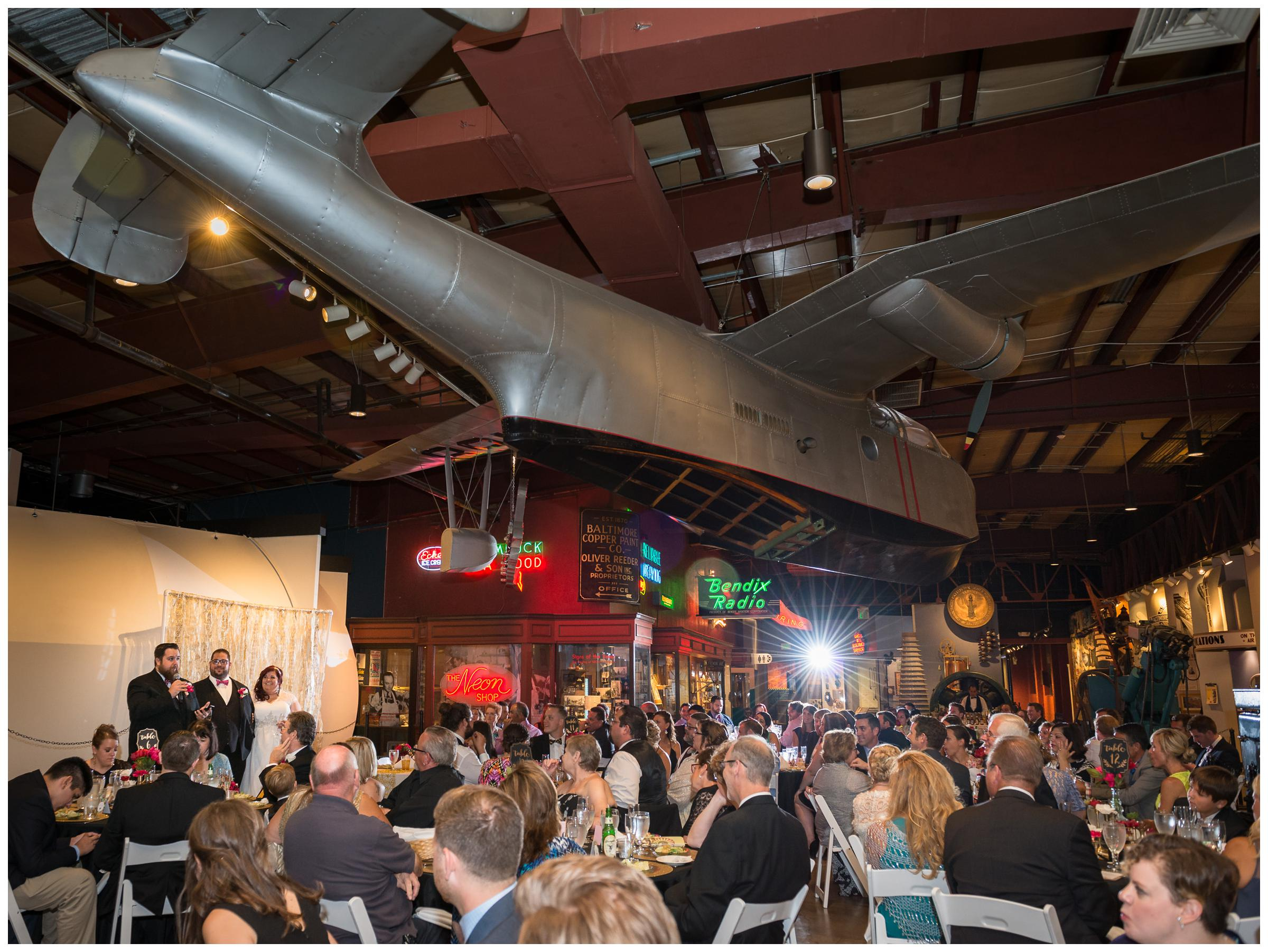 wedding reception inside Baltimore Museum of Industry