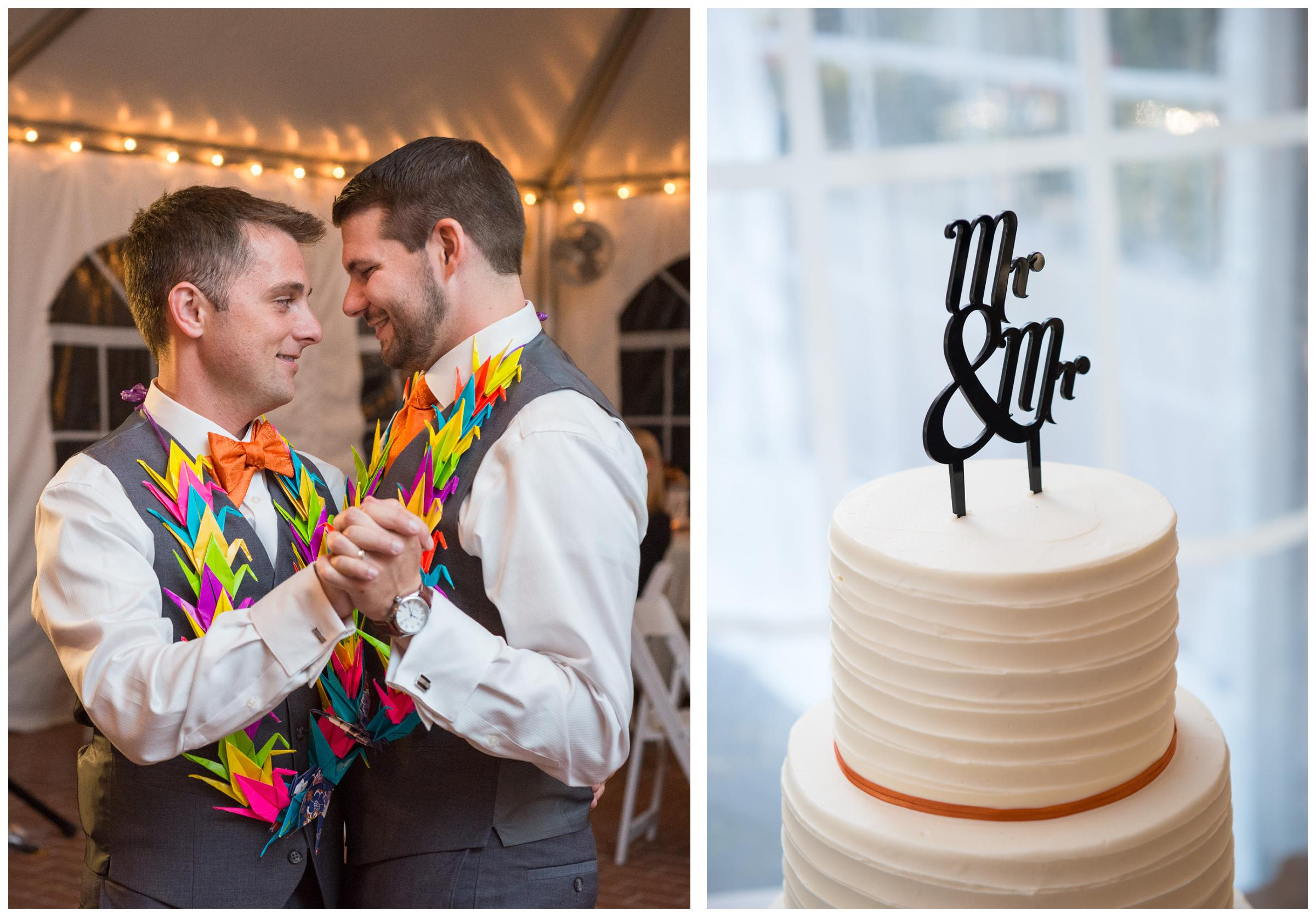 grooms' first dance and cake topper during same-sex wedding reception