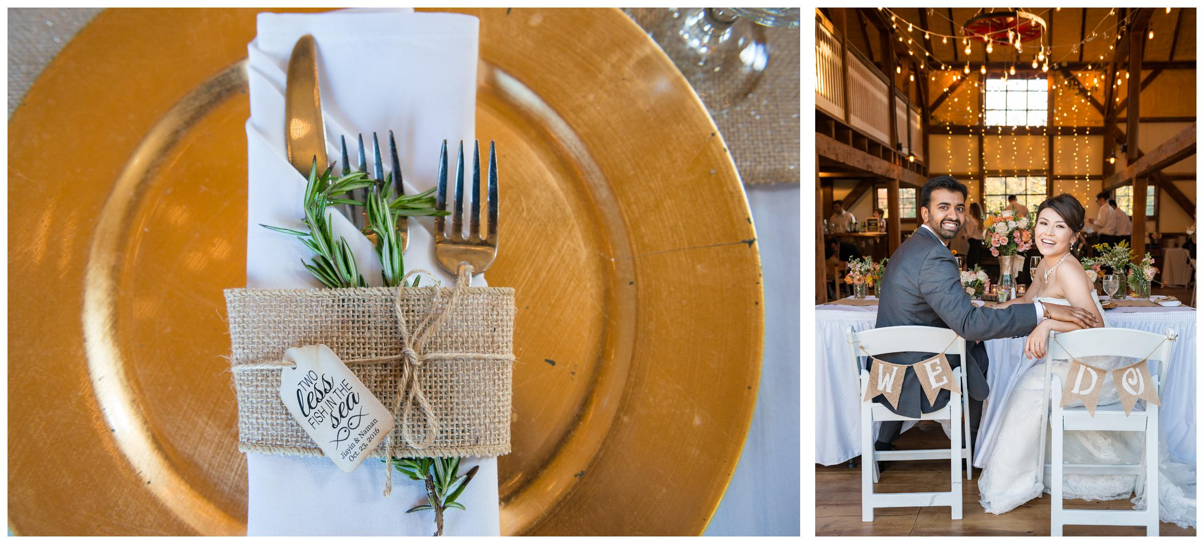 bride and groom with gold decor at rustic barn wedding reception