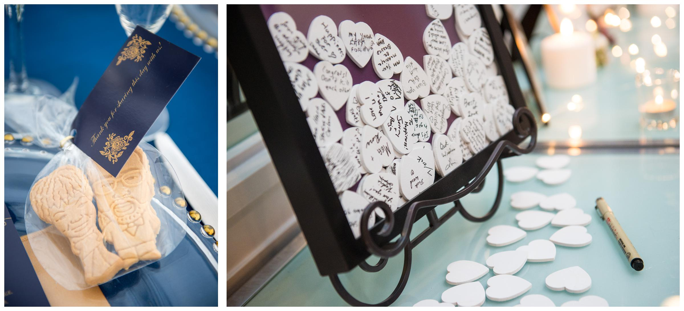 personalized caricature cookie wedding favors and shadowbox heart guestbook