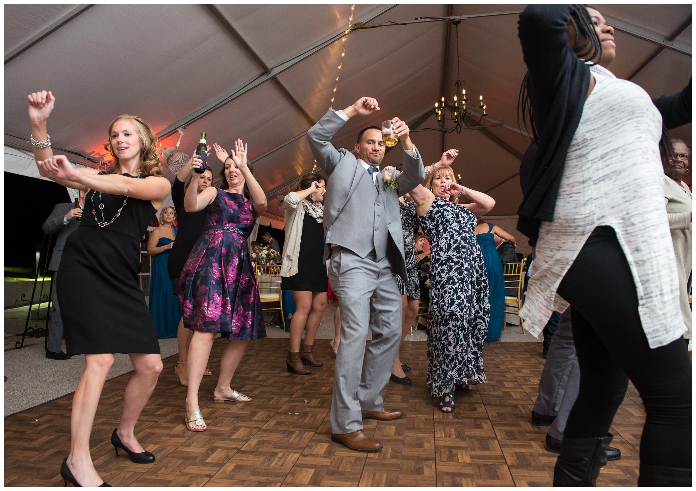 guests dancing during wedding reception at Rust Manor in Leesburg, Virginia