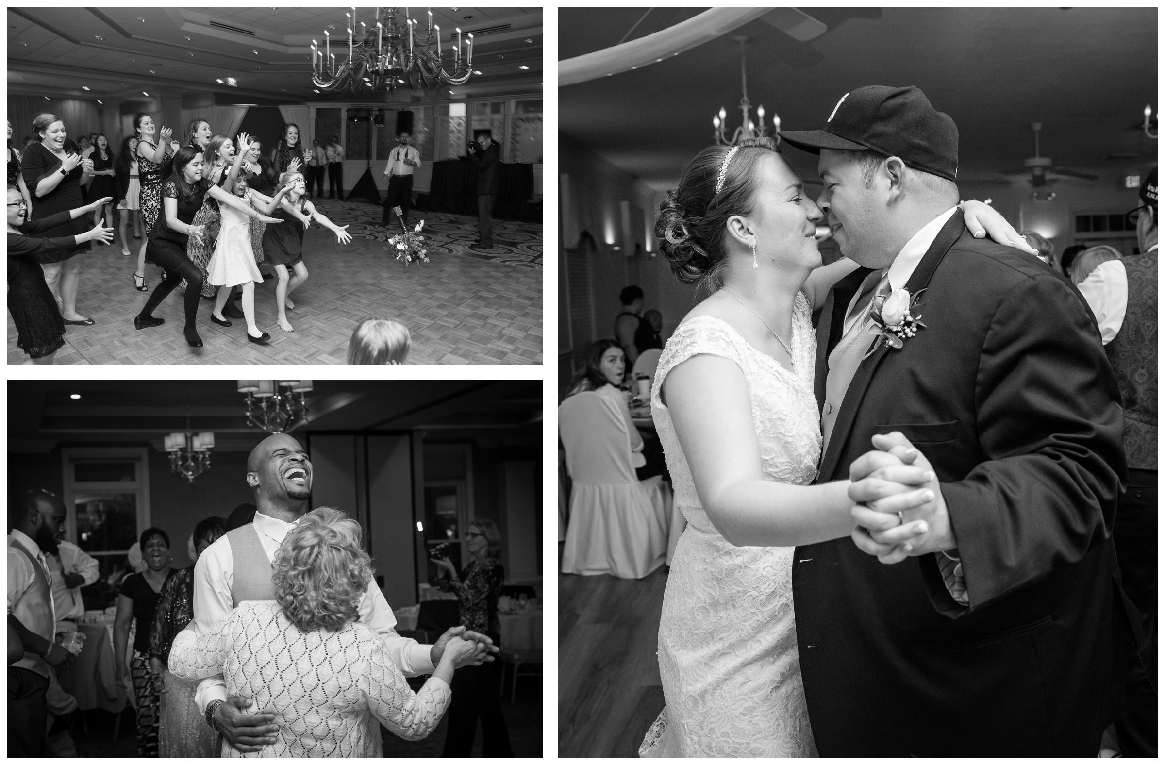 bride and groom dancing and bouquet toss during wedding reception