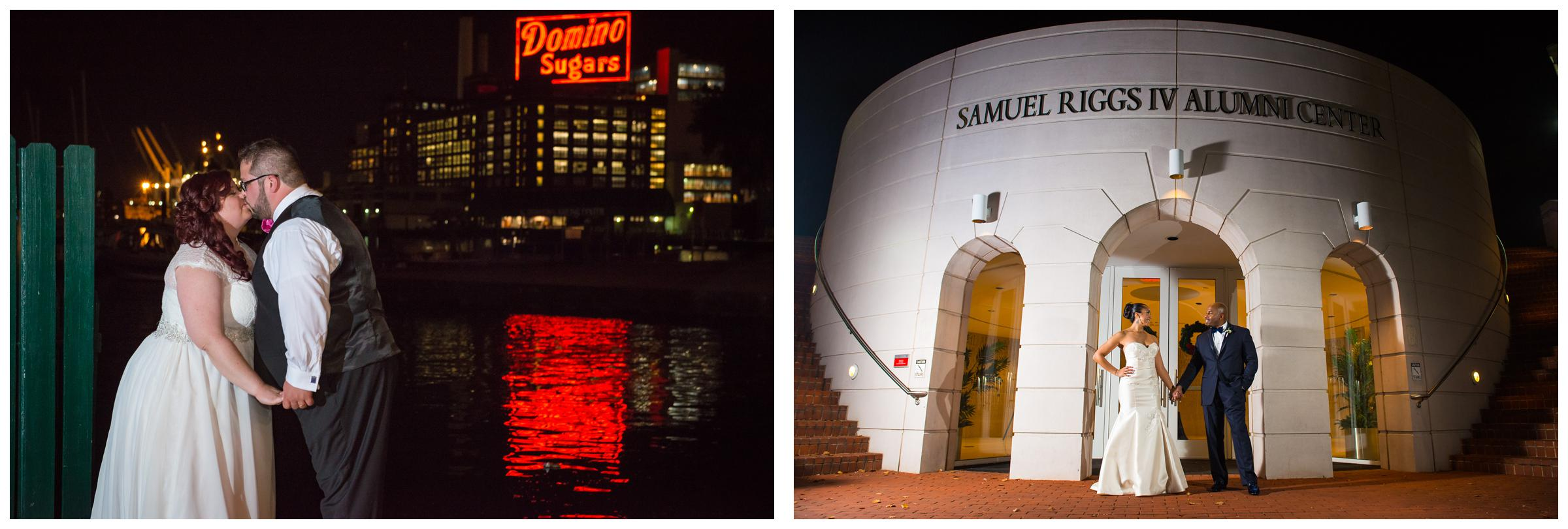nighttime portraits of bride and groom at University of Maryland and Baltimore Museum of Industry