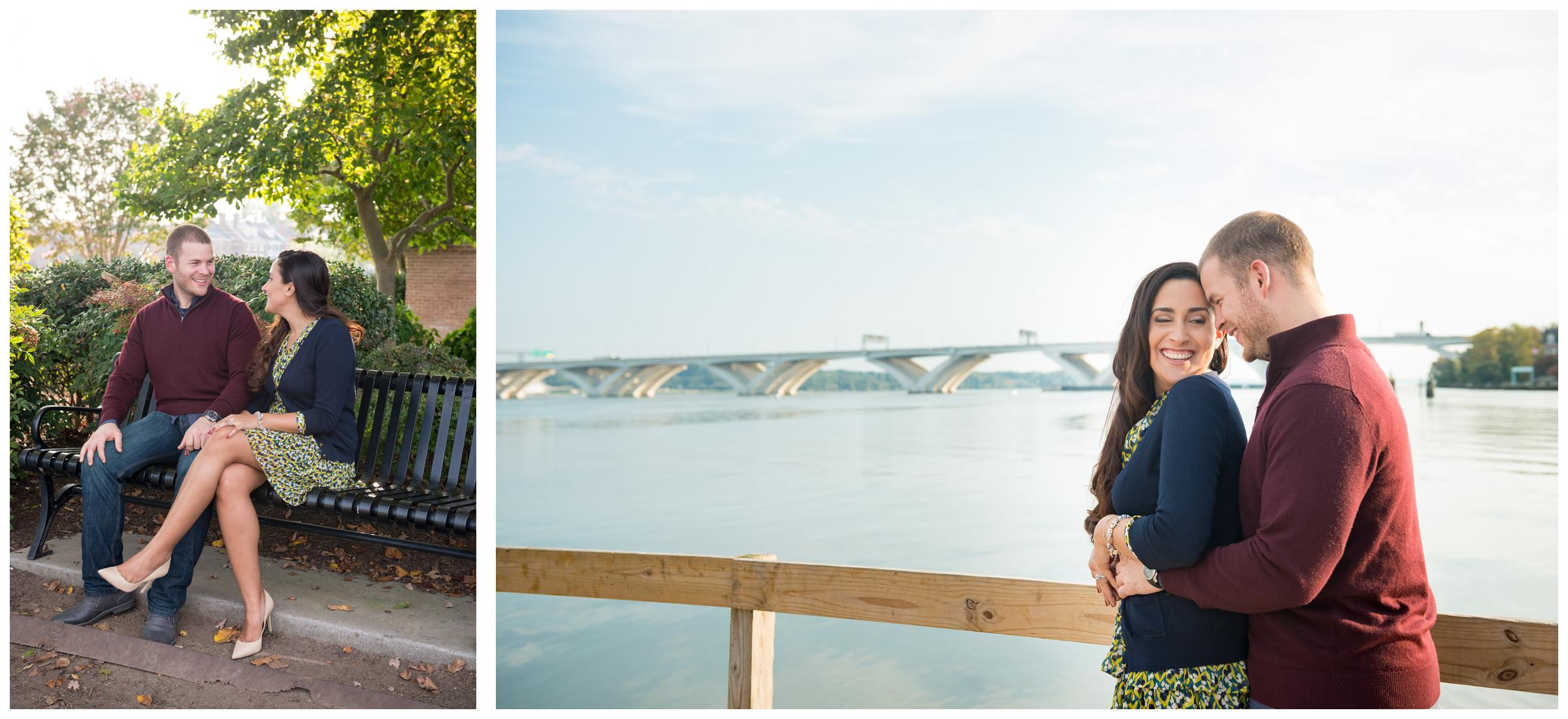 engaged couple on bench and along Potomac River with Woodrow Wilson Memorial Bridge in background
