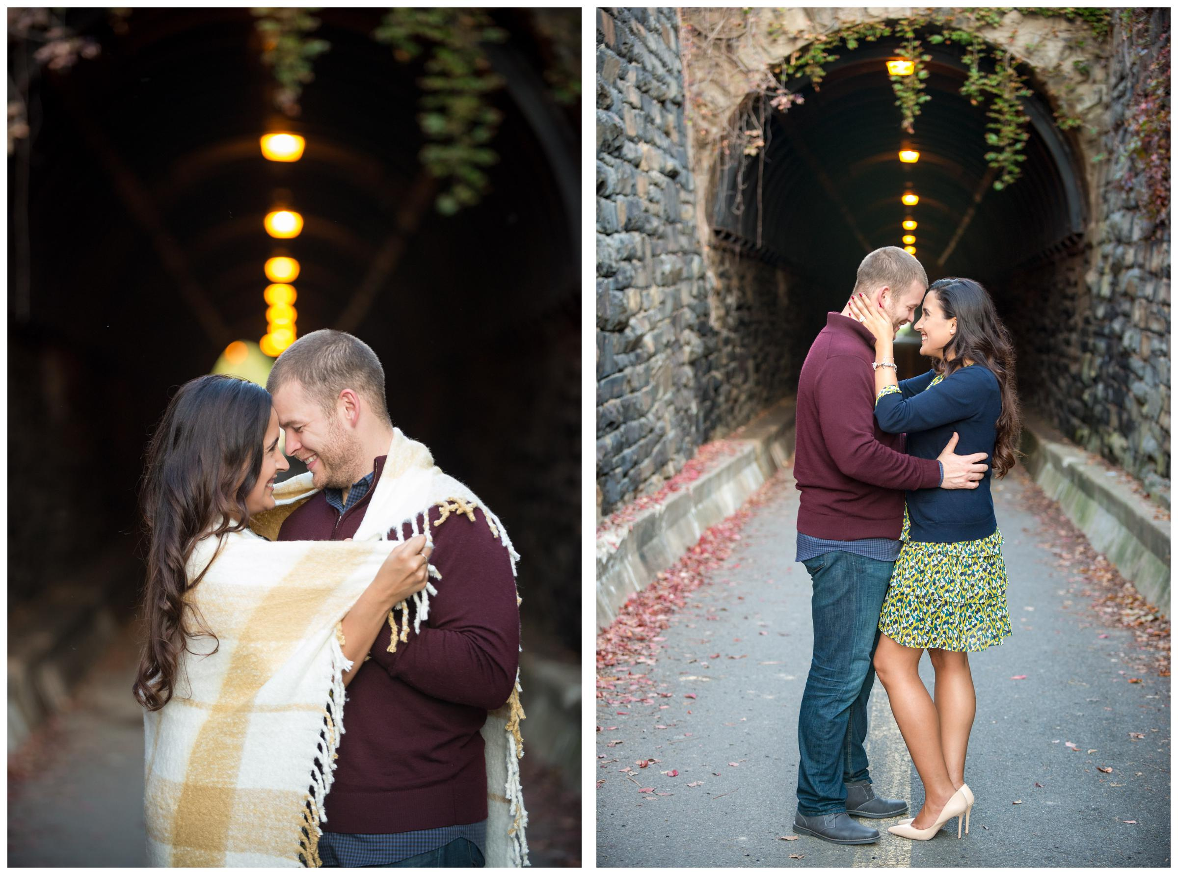engagement session at Wilkes Street pedestrian tunnel in Old Town Alexandria, Virginia