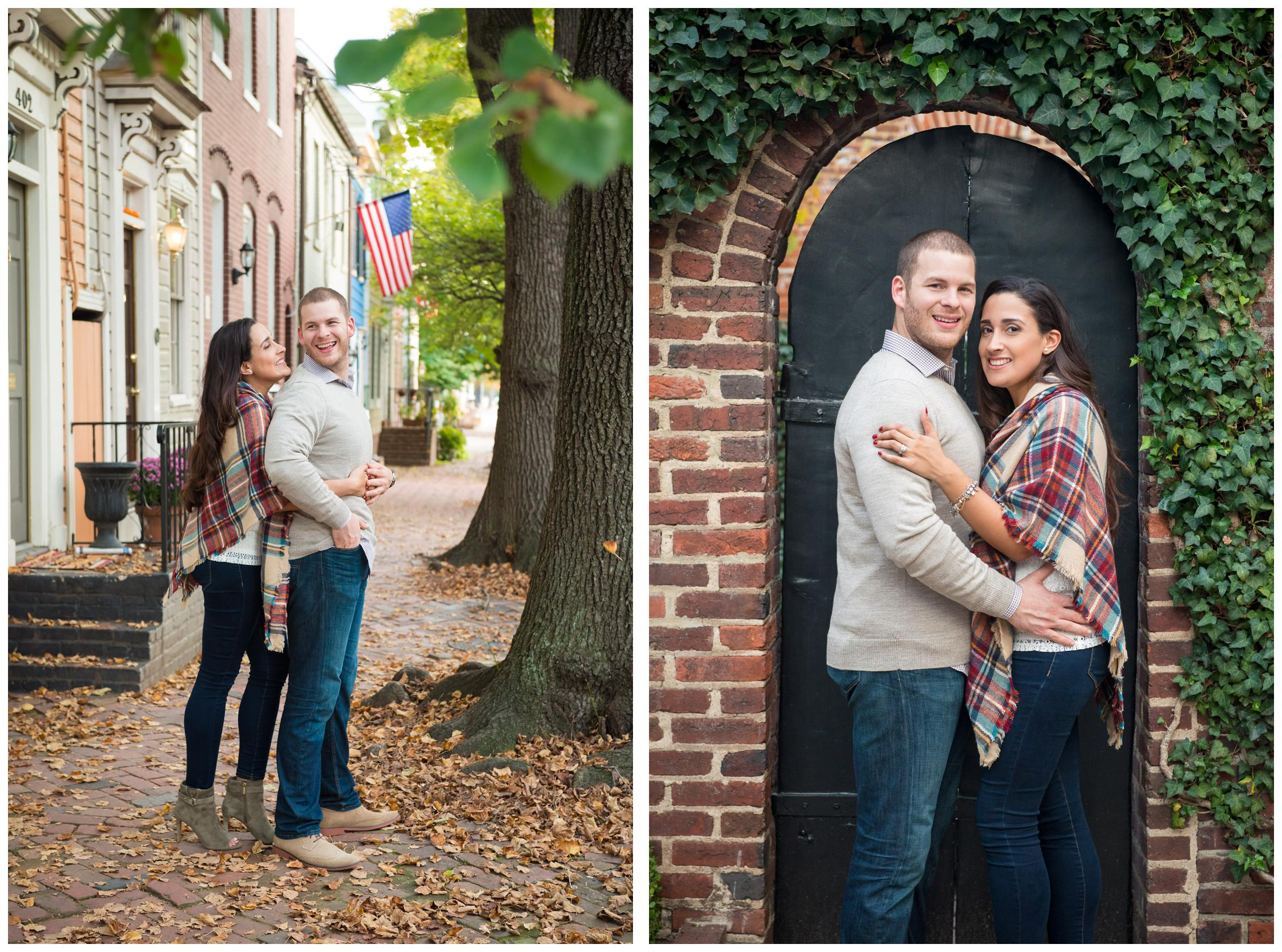 engaged couple on historic street in Old Town Alexandria