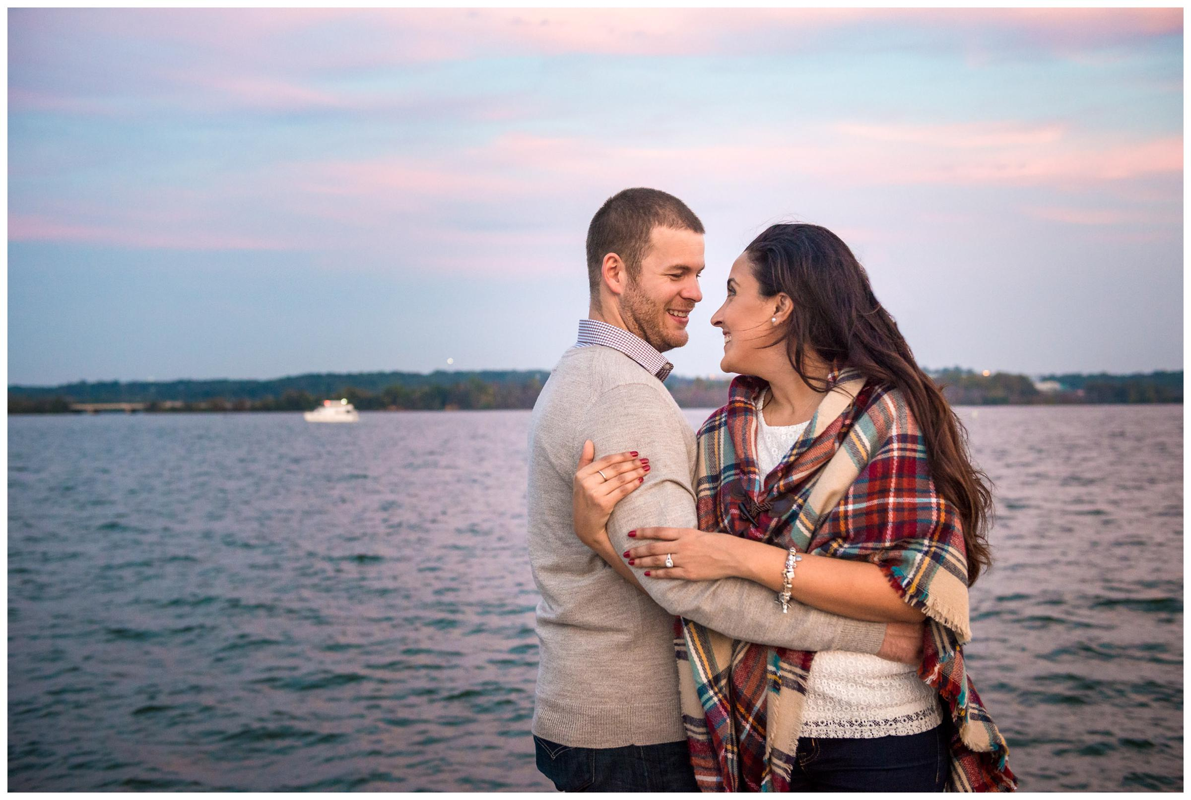 engagement photos on Potomac River at sunset in Old Town Alexandria, Virginia