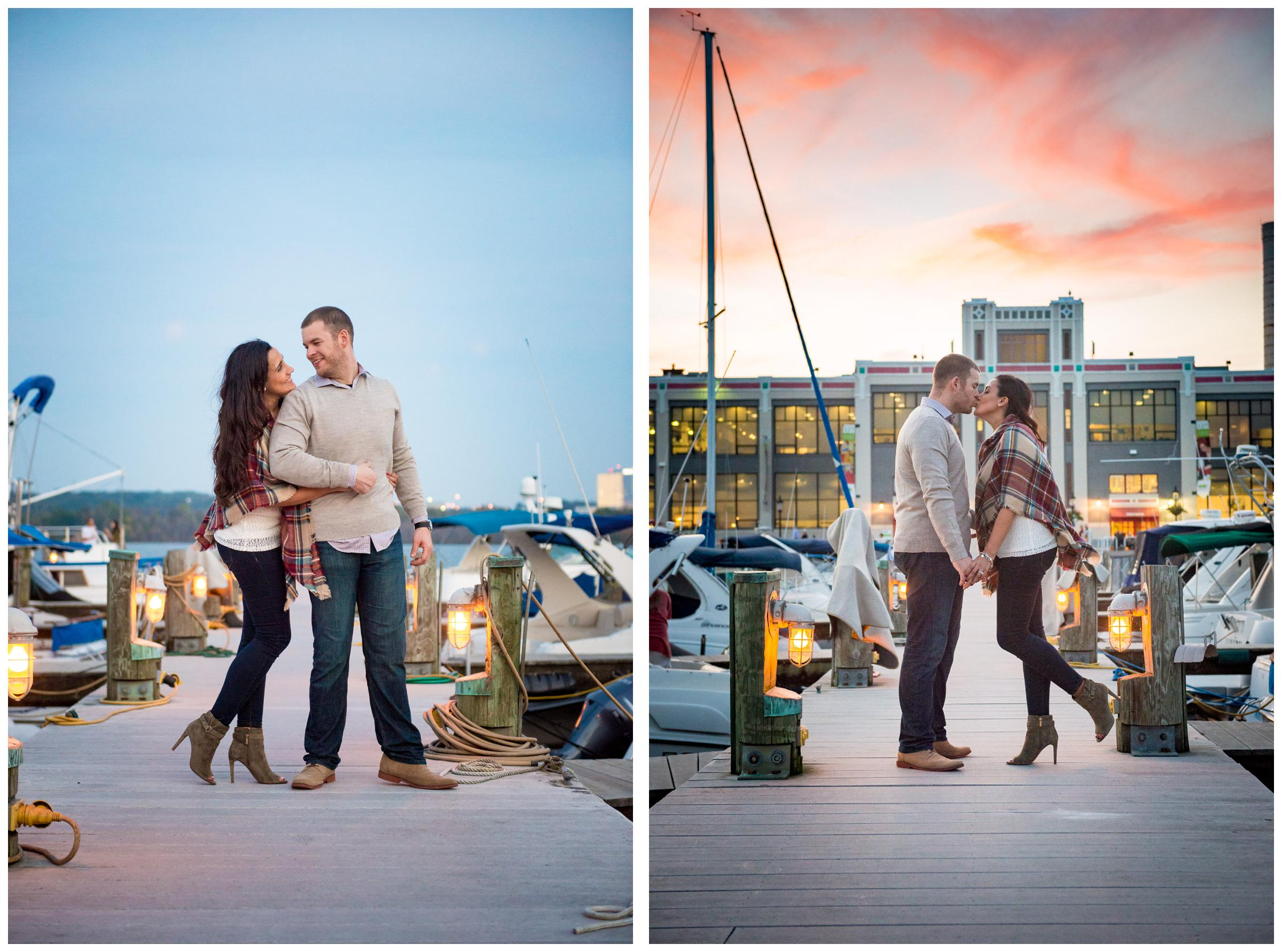 engagement photos on riverfront near the Old Torpedo Factory in Alexandria, Virginia