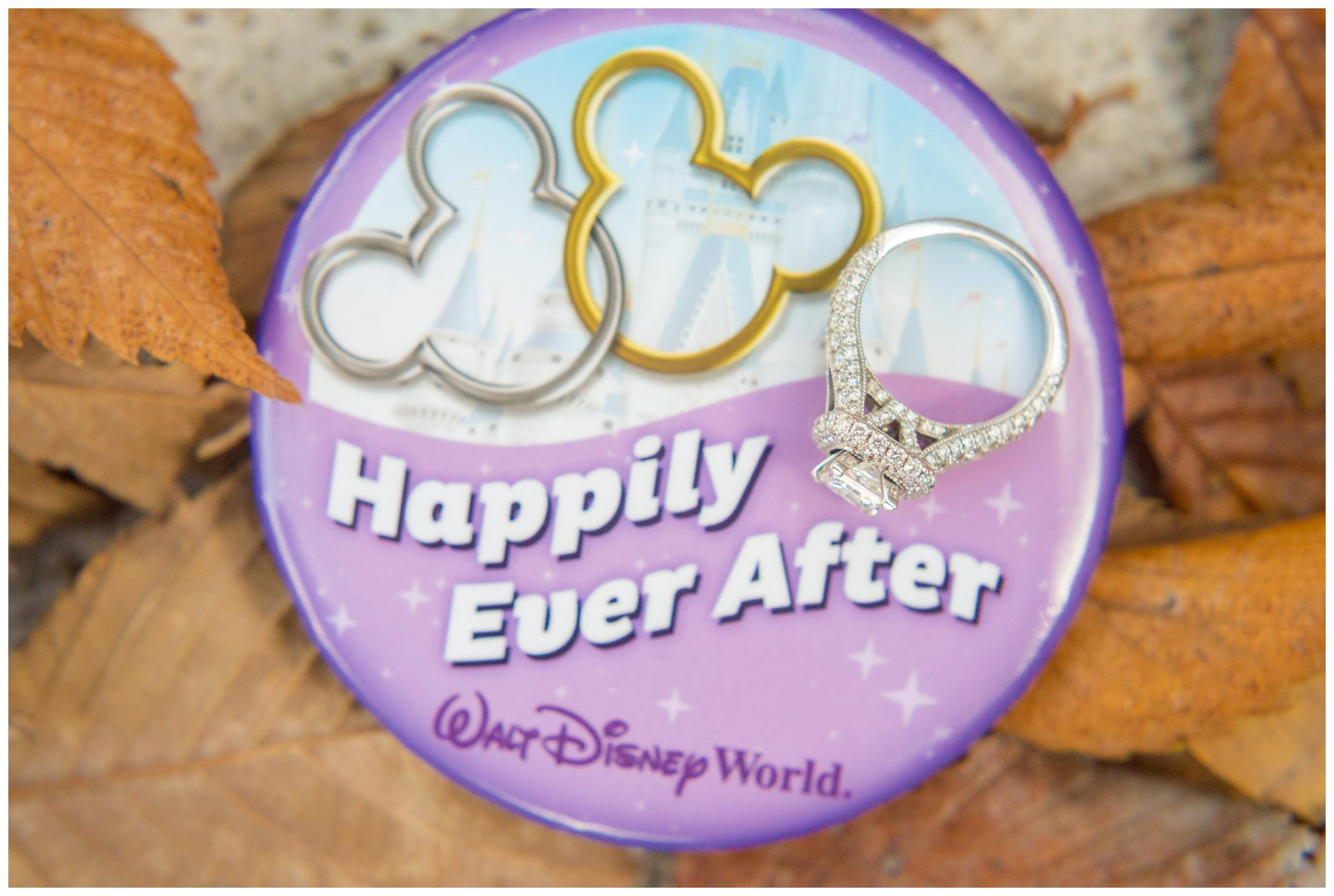 engagement ring with Happily Ever After button from Walt Disney World